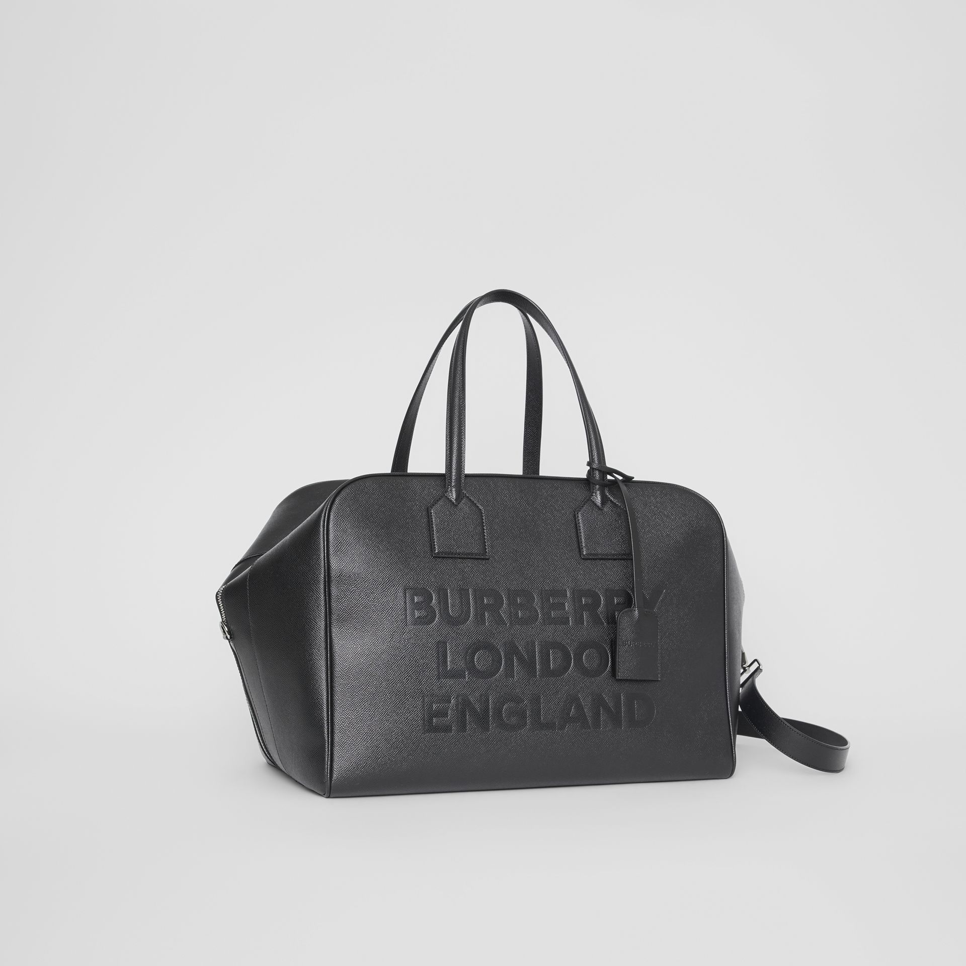 Logo Embossed Leather Holdall in Black | Burberry United Kingdom - gallery image 6