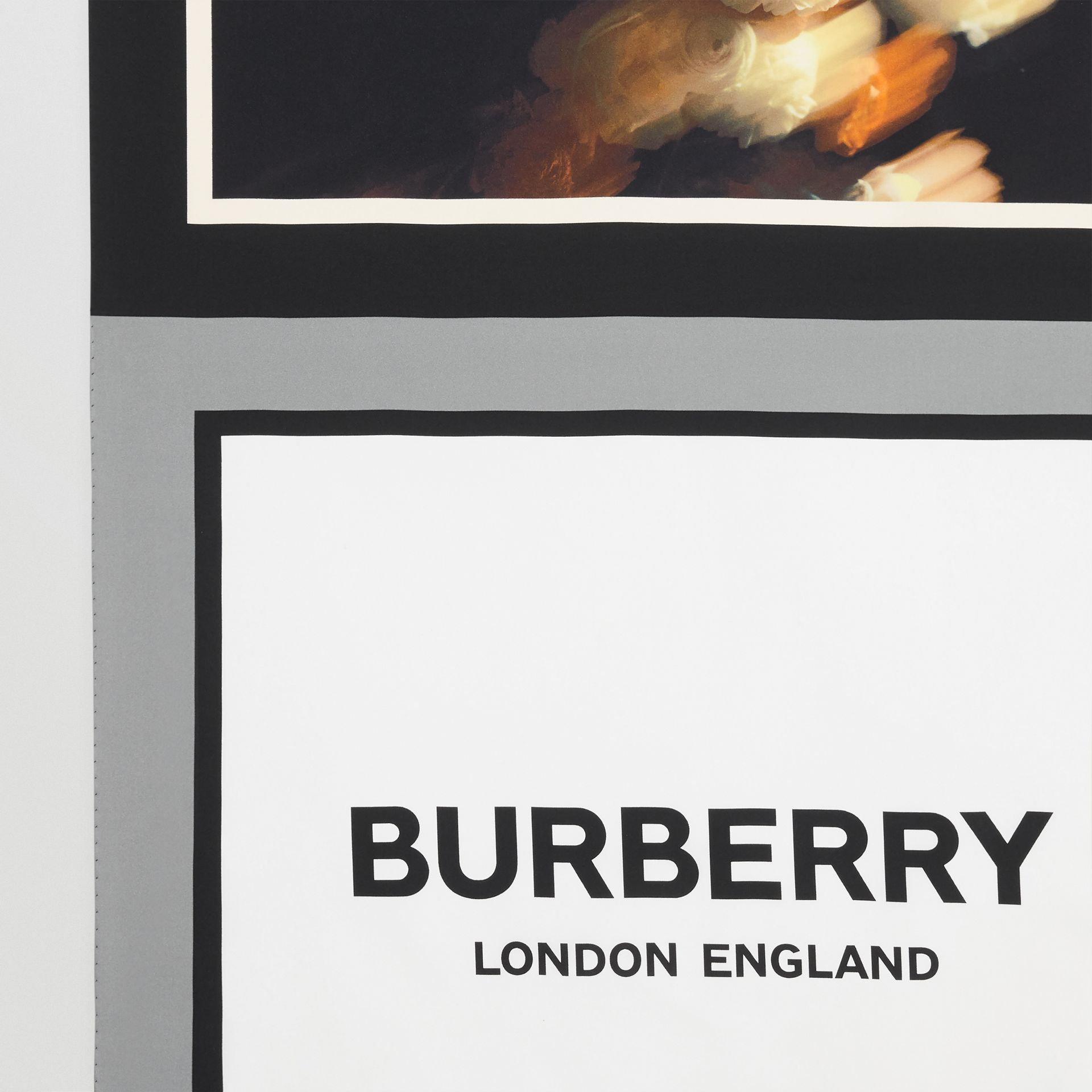 Montage and Logo Print Silk Large Square Scarf in Monochrome | Burberry - gallery image 1