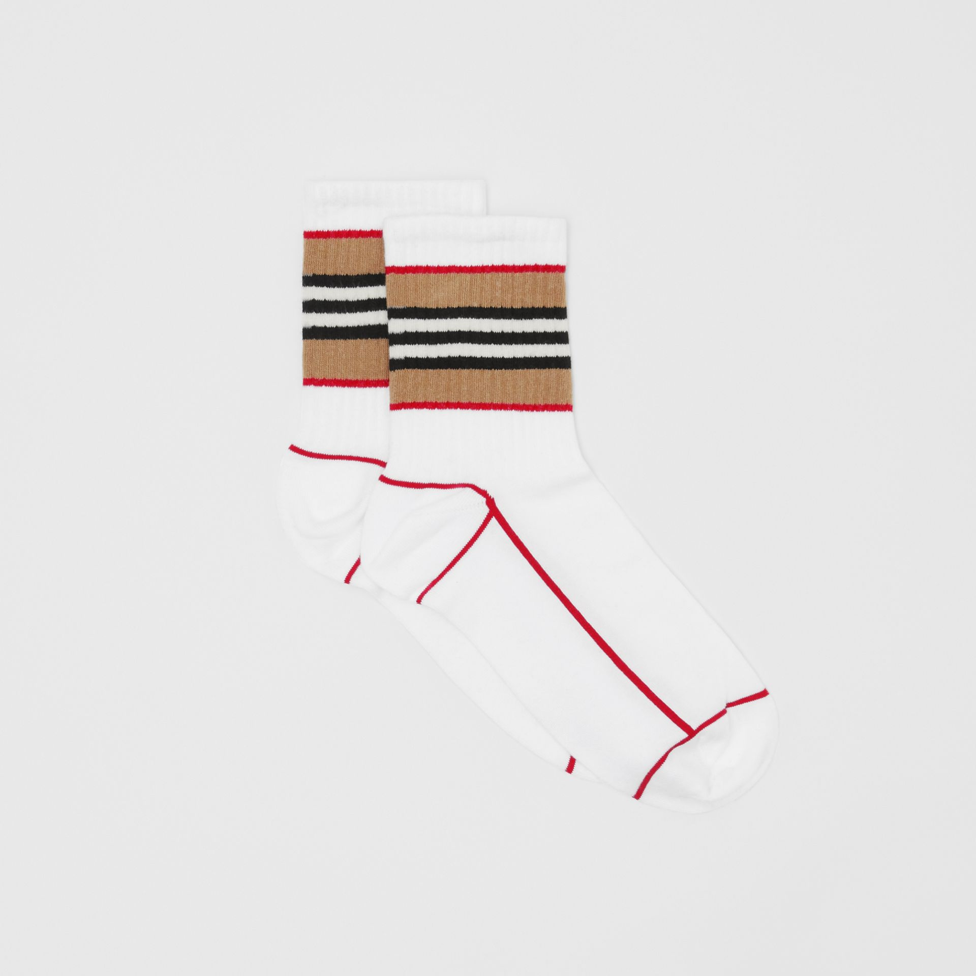 Icon Stripe Intarsia Cotton Blend Ankle Socks in White | Burberry - gallery image 2