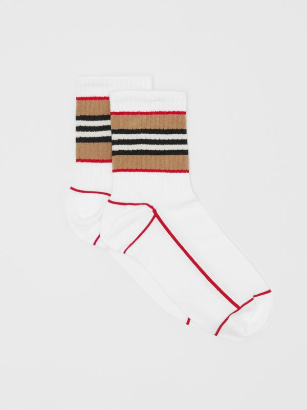 Icon Stripe Intarsia Cotton Blend Ankle Socks in White | Burberry - cell image 2