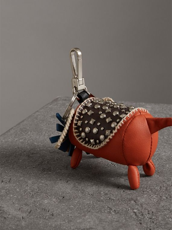 Trevor The Scottie Dog Leather Charm in Limestone - Women | Burberry - cell image 3