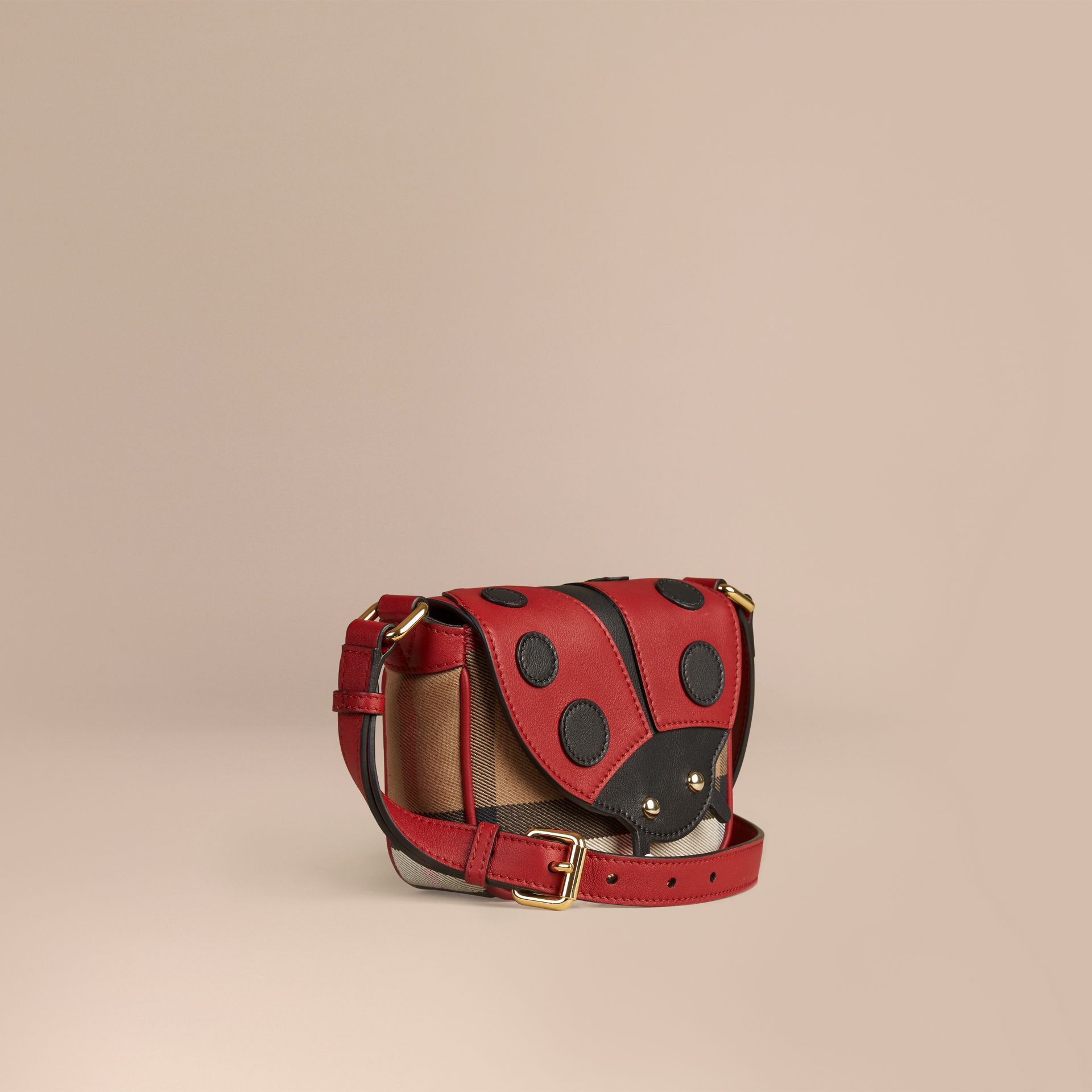 Parade red Ladybird Canvas Check and Leather Crossbody Bag - gallery image 1