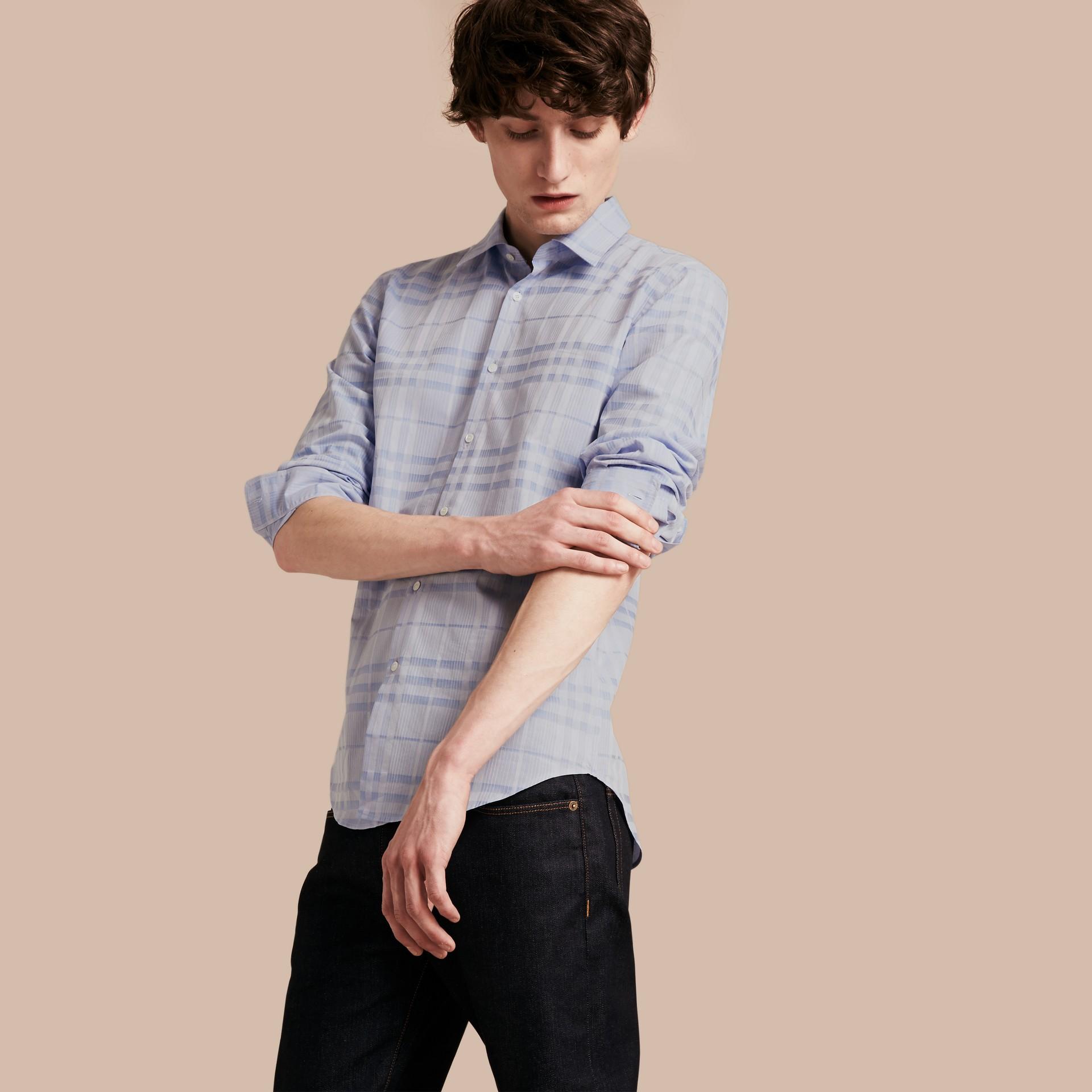 Bleu dragée Chemise en coton tissé en jacquard à motif check Bleu Dragée - photo de la galerie 1