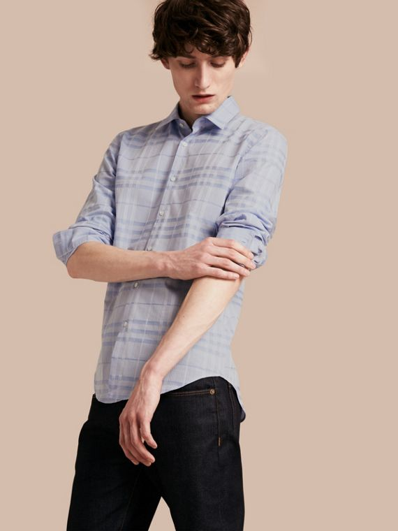 Check Jacquard Cotton Shirt City Blue