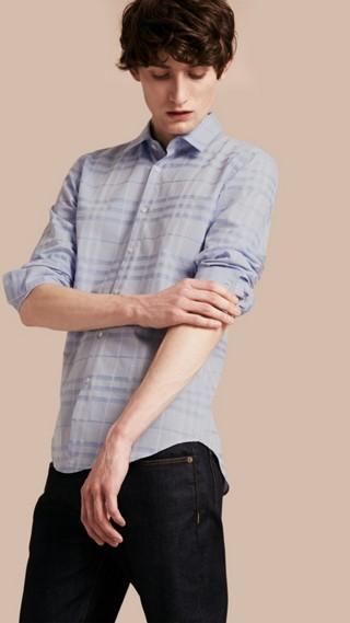 Chemise en coton tissé en jacquard à motif check