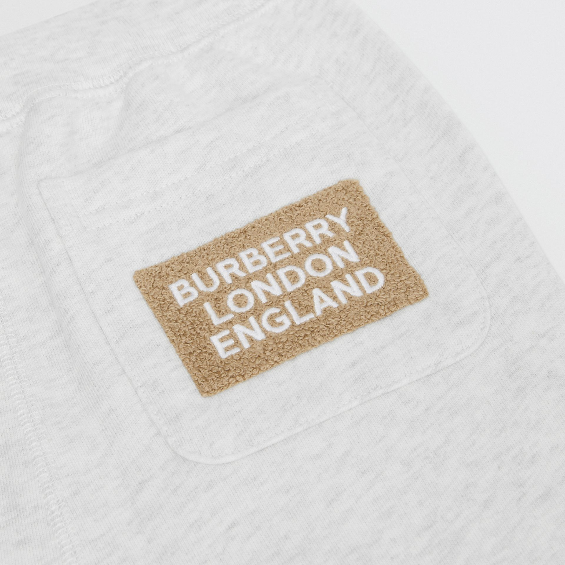 Logo Detail Cotton Trackpants in White Melange | Burberry - gallery image 1