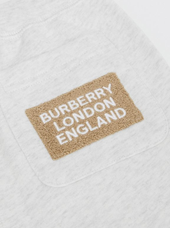 Logo Detail Cotton Trackpants in White Melange | Burberry - cell image 1