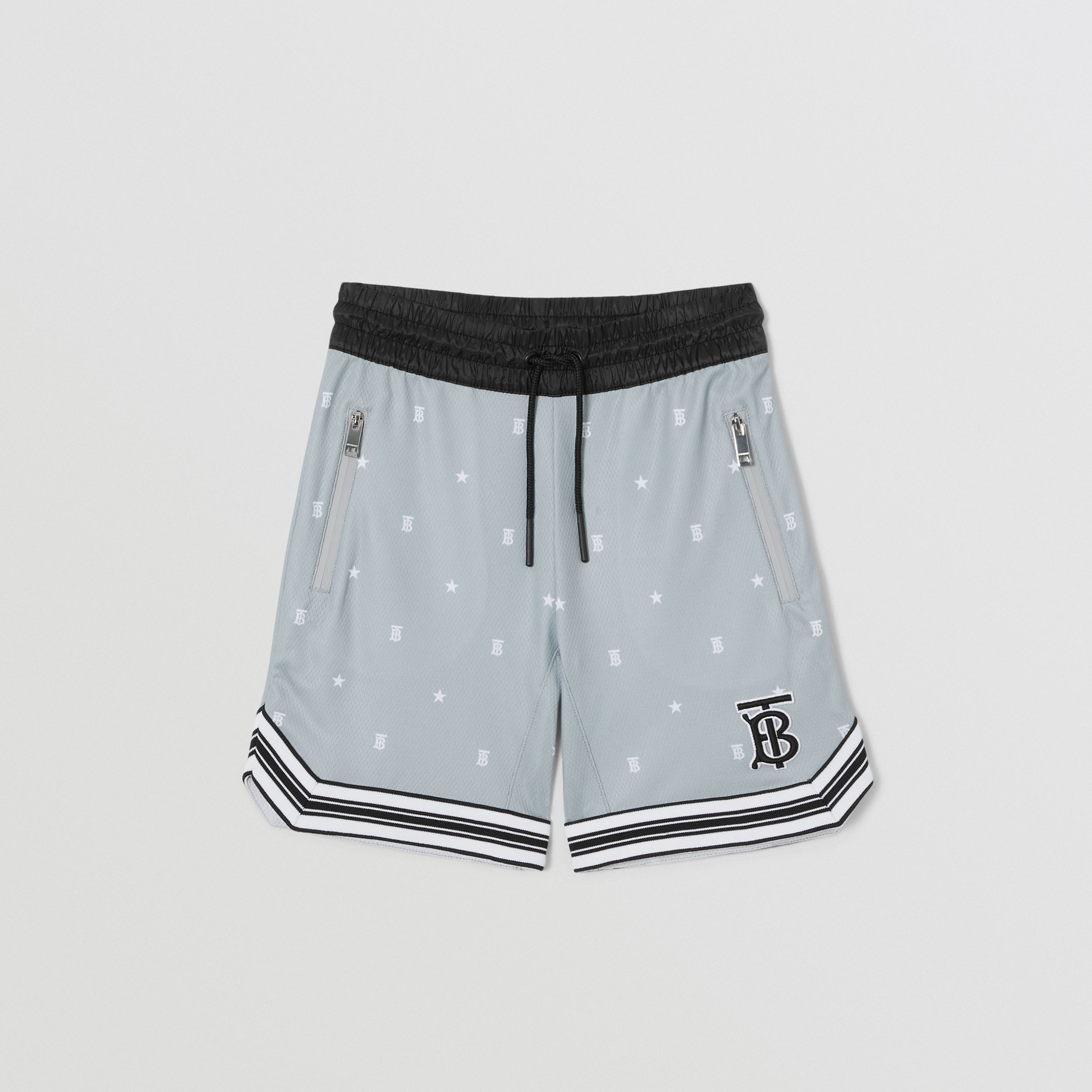 Star and Monogram Motif Jersey Mesh Shorts in Light Grey | Burberry - 1