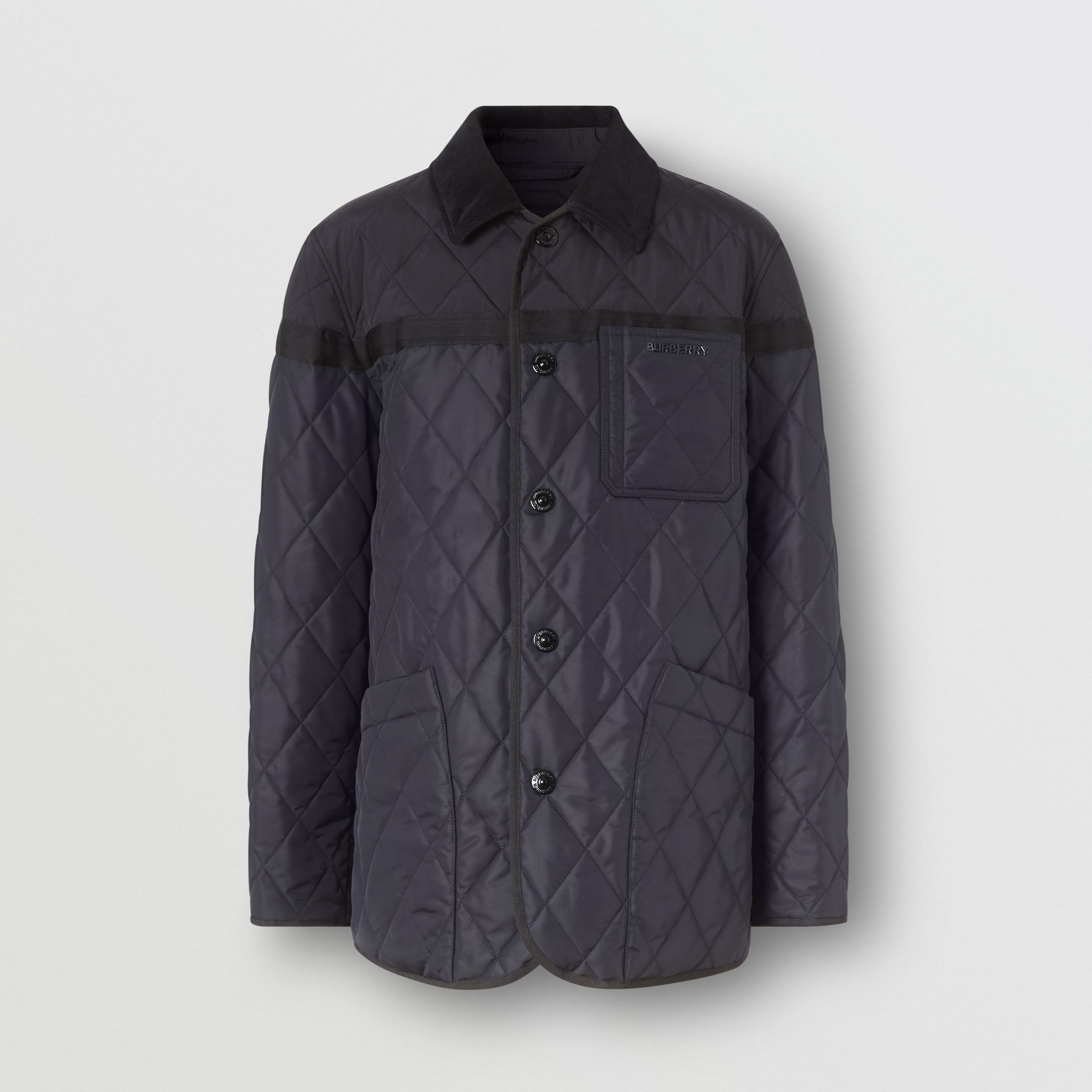 Diamond Quilted Nylon Canvas Barn Jacket in Navy - Men | Burberry - 4