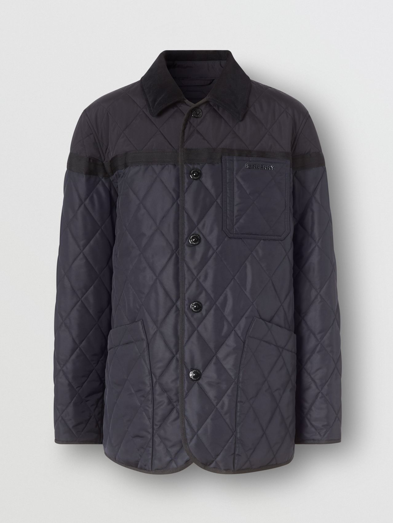 Diamond Quilted Nylon Canvas Barn Jacket in Navy