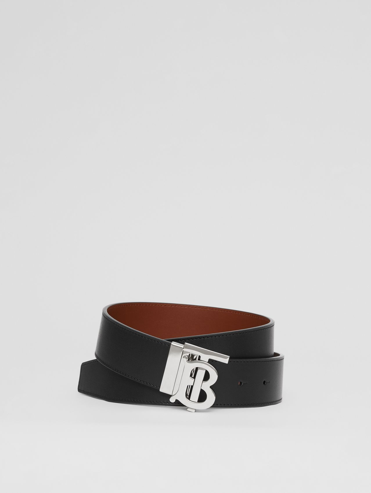 Reversible Monogram Motif Leather Belt in Black/tan