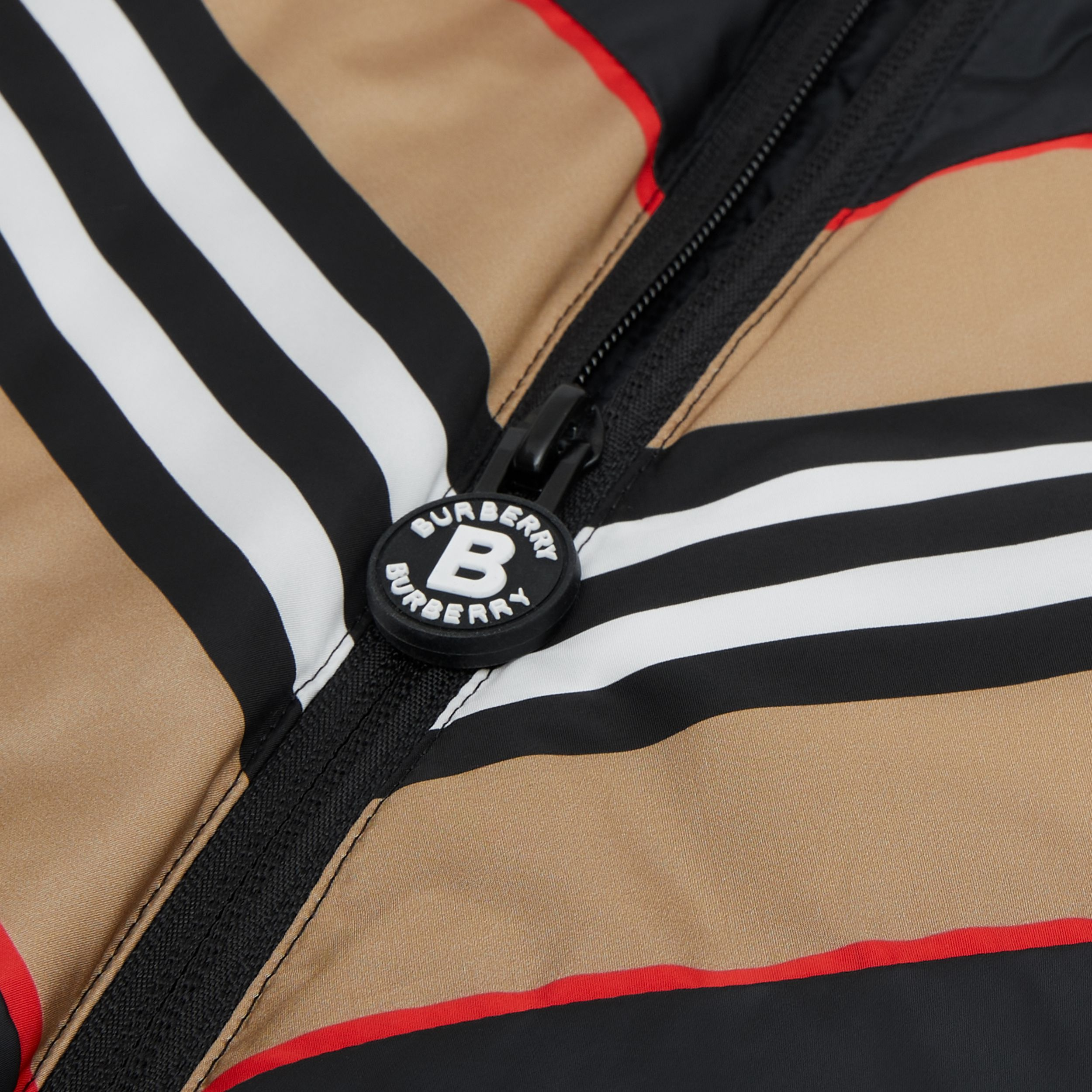 Logo Appliqué Icon Stripe Panel Down-filled Jacket in Black | Burberry - 2