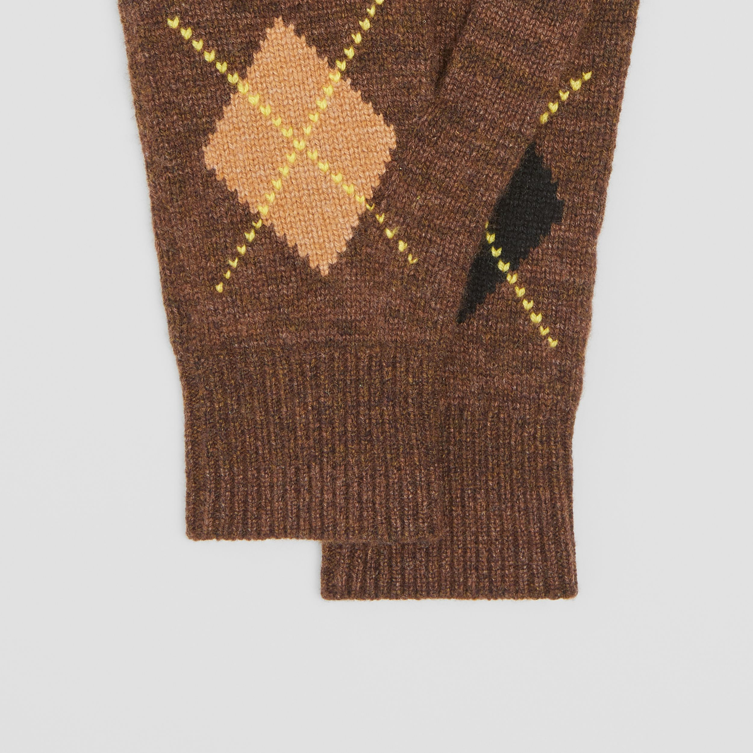 Argyle Intarsia Wool Cashmere Gloves in Brown | Burberry - 2