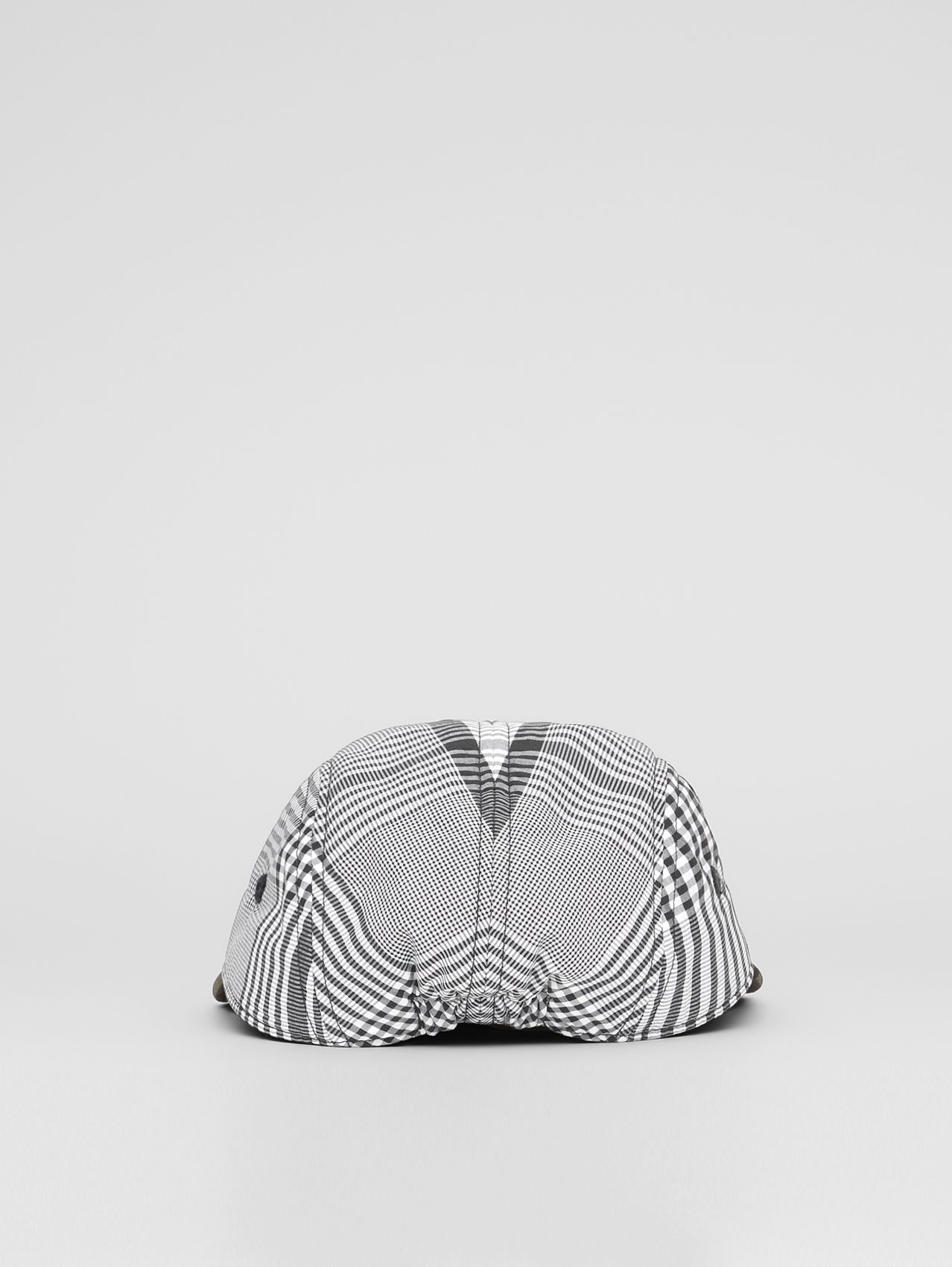 Logo Appliqué Check Cotton Poplin Cap in Black/white