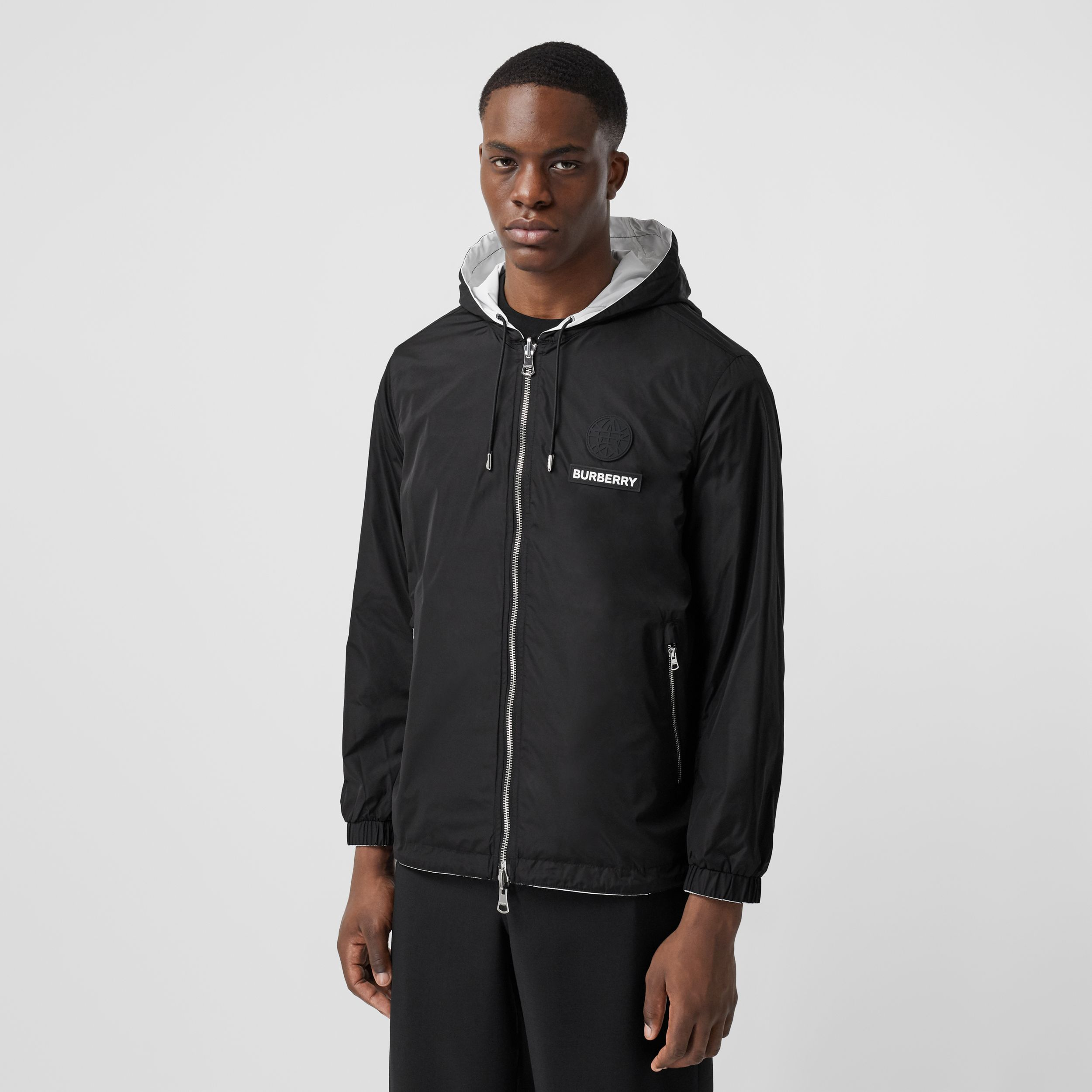 Reversible Swan Print Nylon Hooded Jacket in Monochrome - Men | Burberry - 3