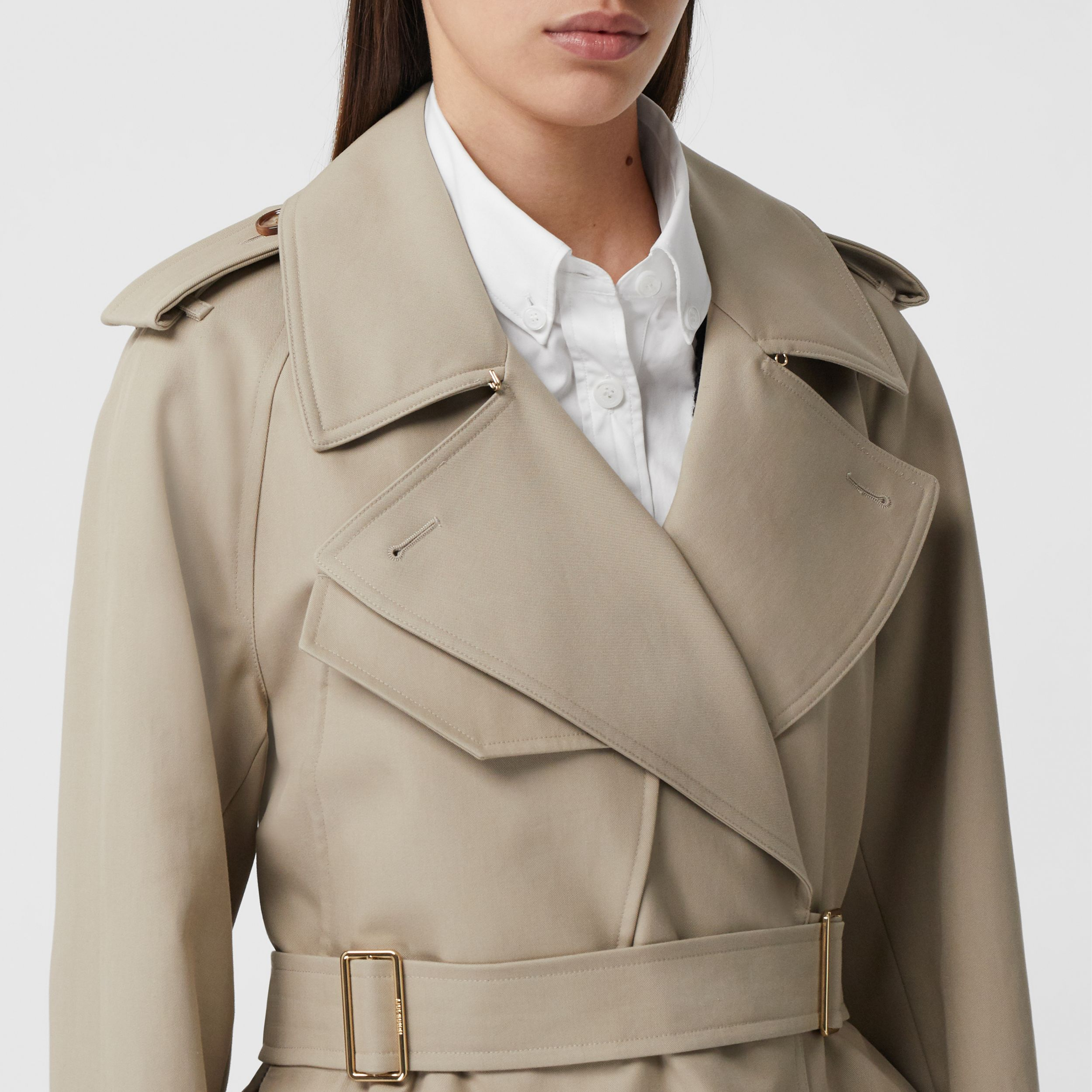 Cotton Gabardine Tielocken Coat in Stone - Women | Burberry - 2