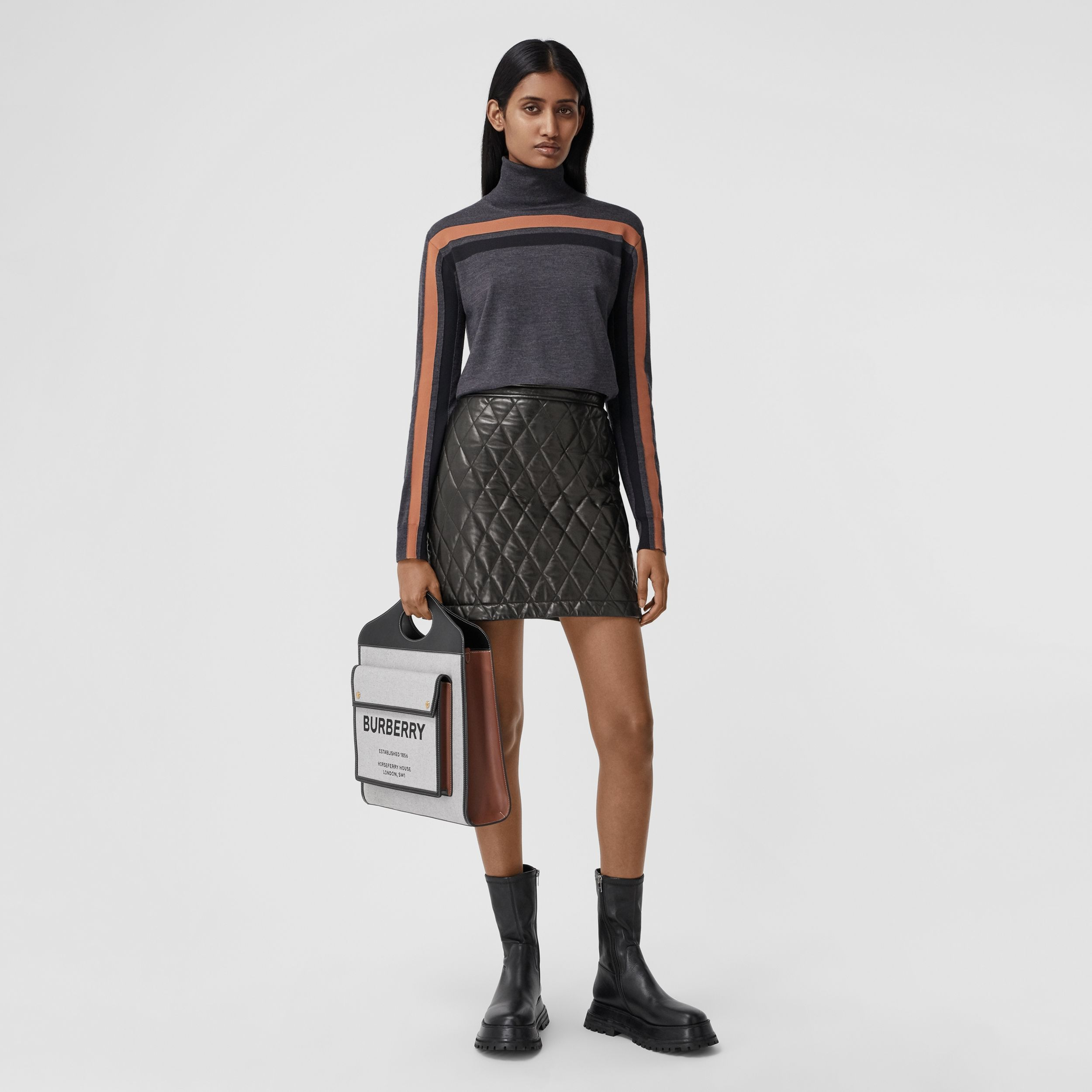 Diamond Quilted Lambskin Mini Skirt in Black - Women | Burberry - 1