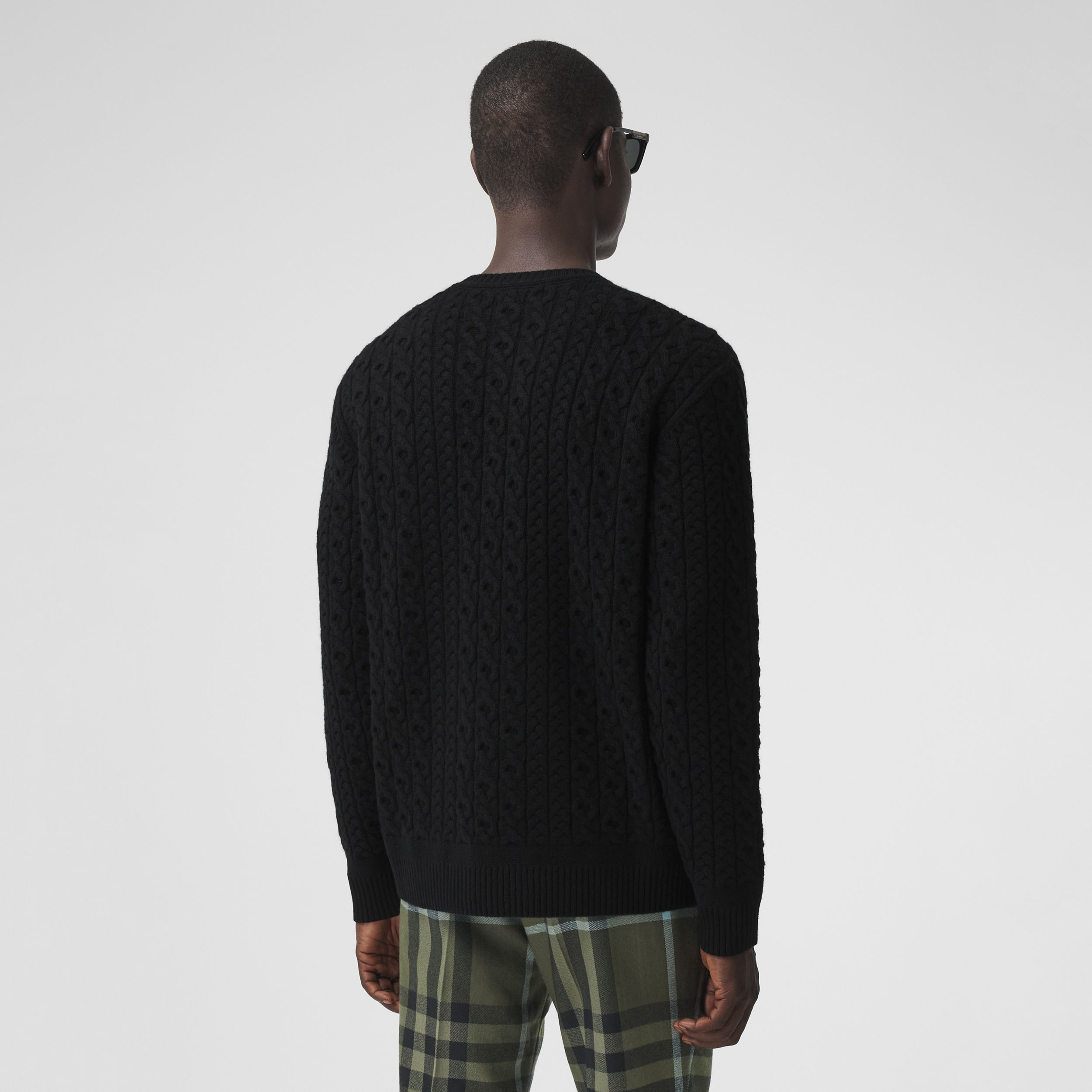 Cable Knit Wool Cashmere Sweater in Black - Men | Burberry - 3