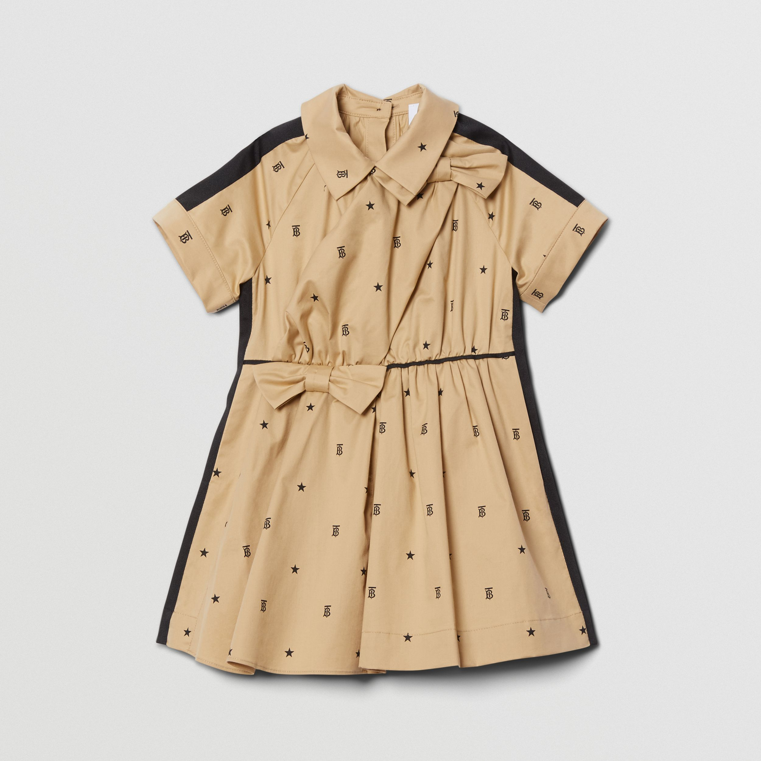 Star and Monogram Motif Stretch Cotton Dress in Sand - Children | Burberry - 1