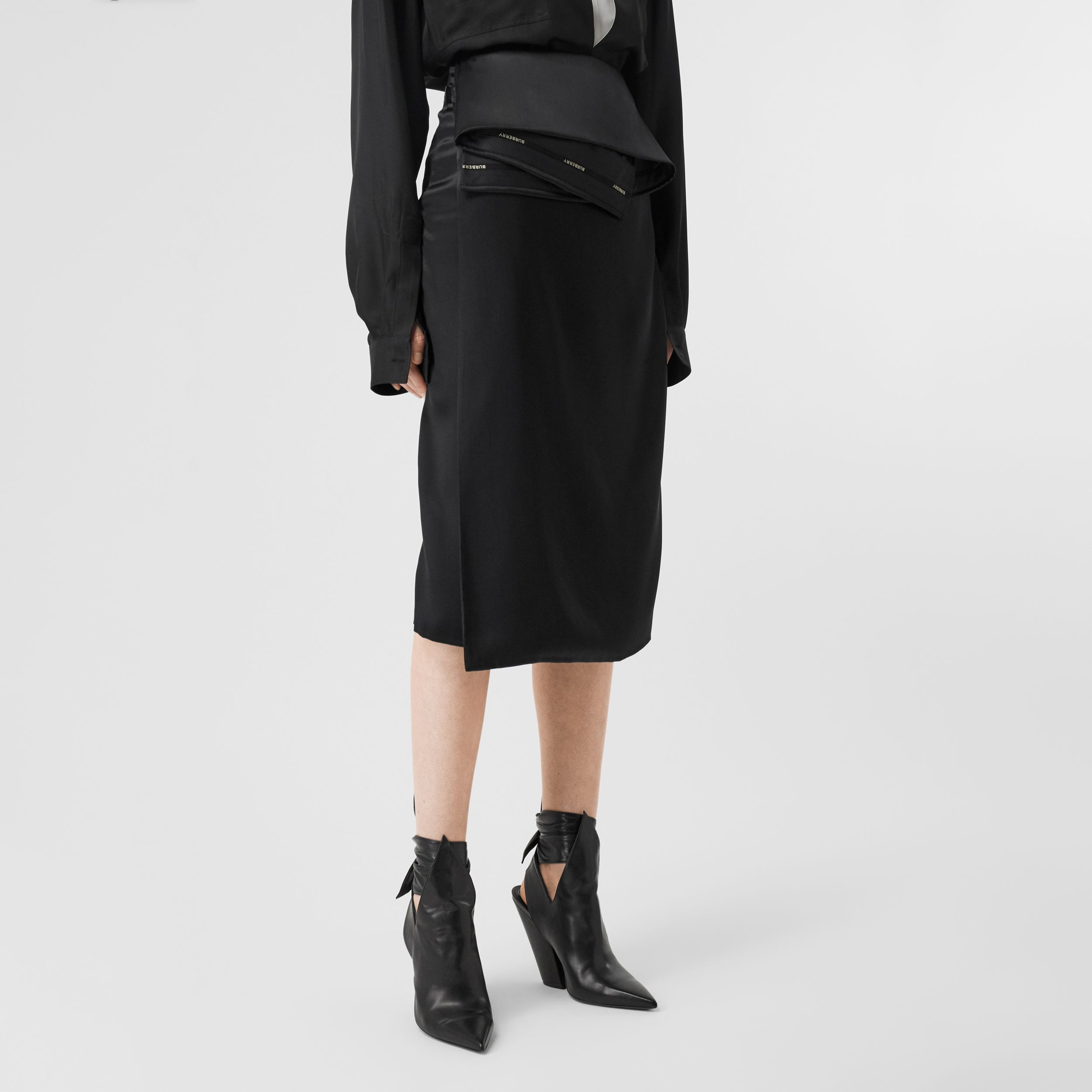Silk Satin Foldover Skirt in Black - Women | Burberry - 3