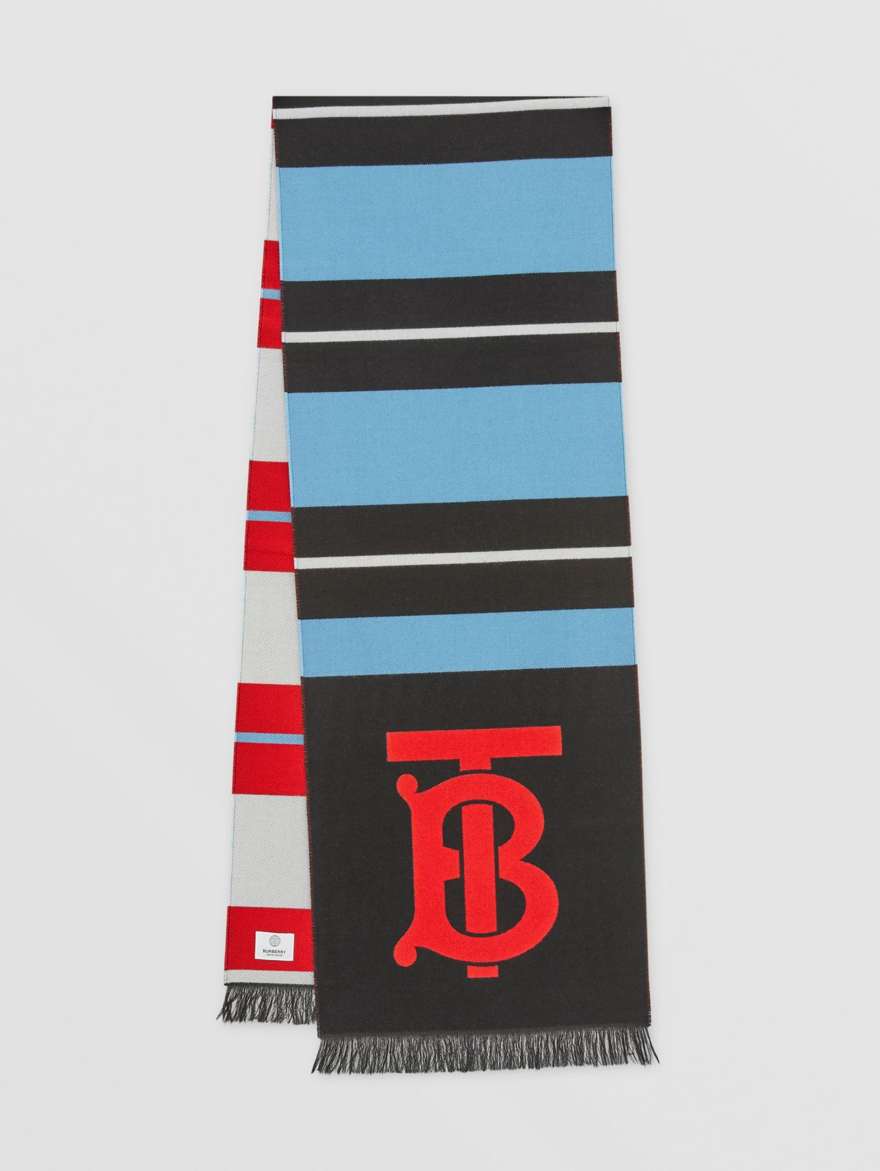 Striped Monogram Wool Silk Jacquard Scarf in Topaz Blue