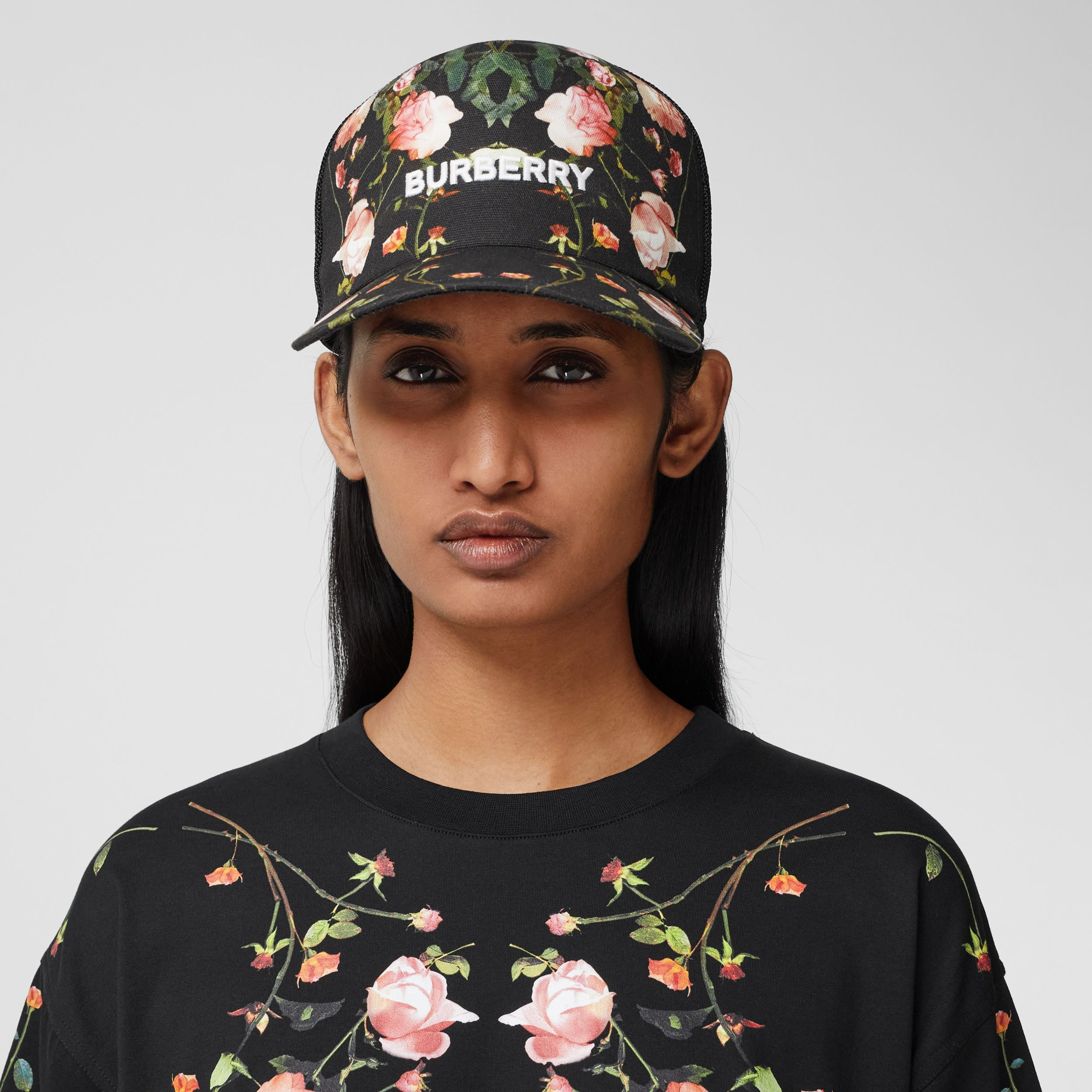 Rose Print Cotton and Mesh Baseball Cap in Black | Burberry - 3