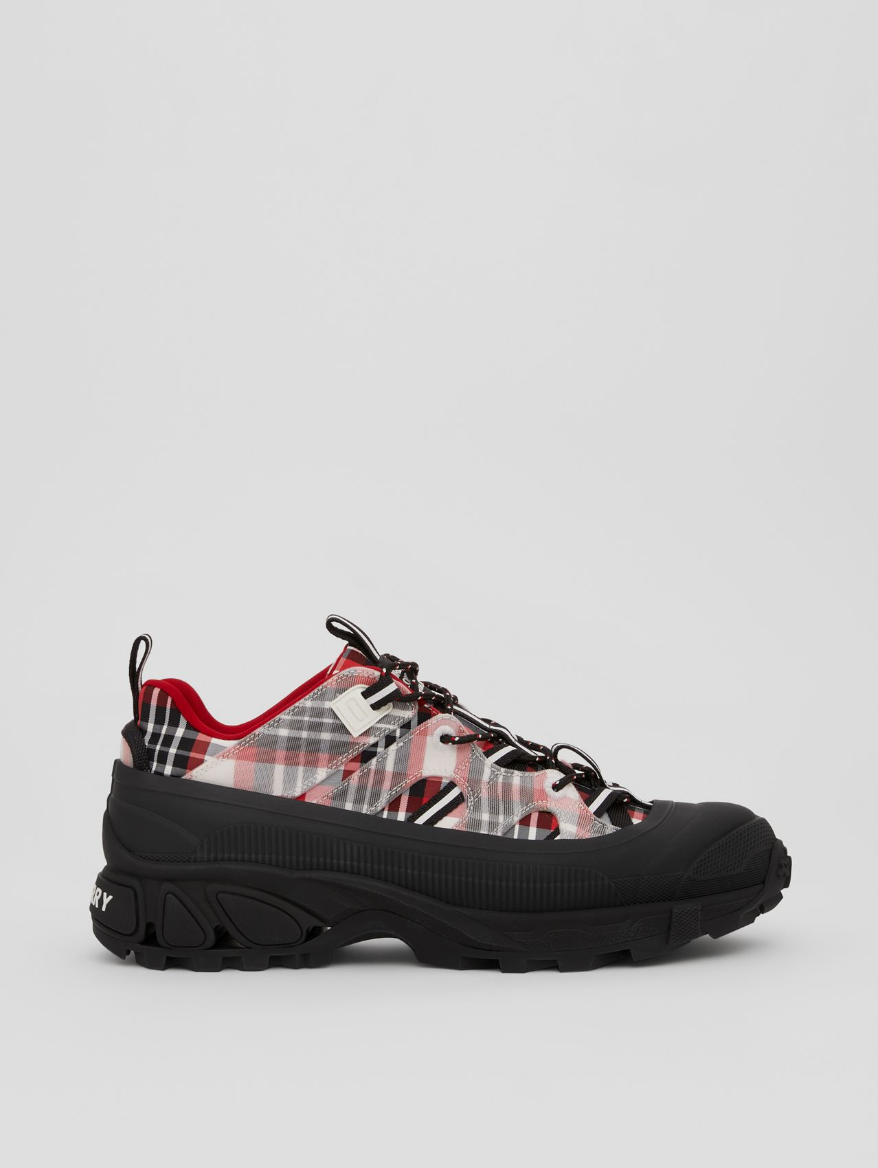 Tartan Nylon Arthur Sneakers in Red/black/white