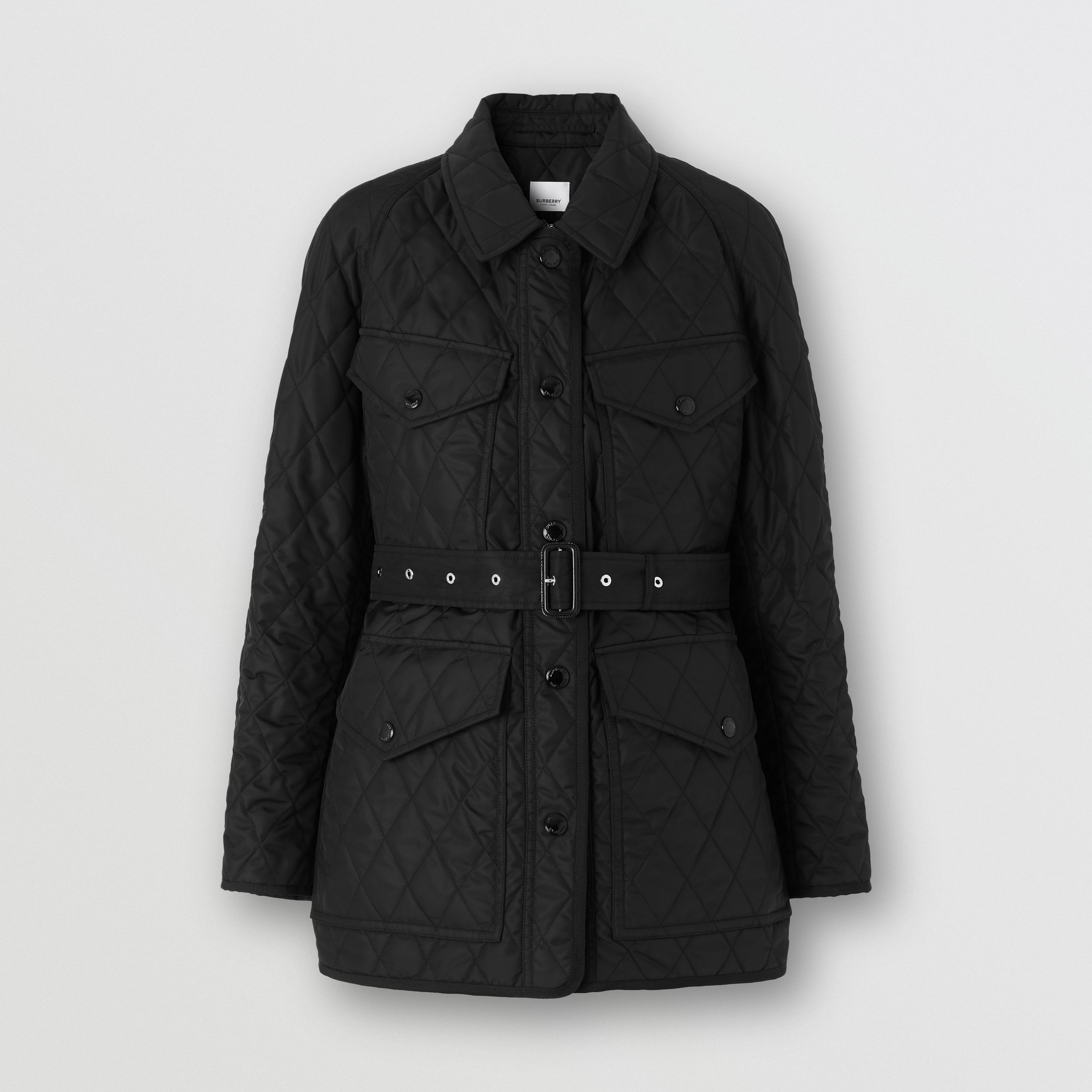 Diamond Quilted Nylon Canvas Field Jacket in Black - Women | Burberry - 4