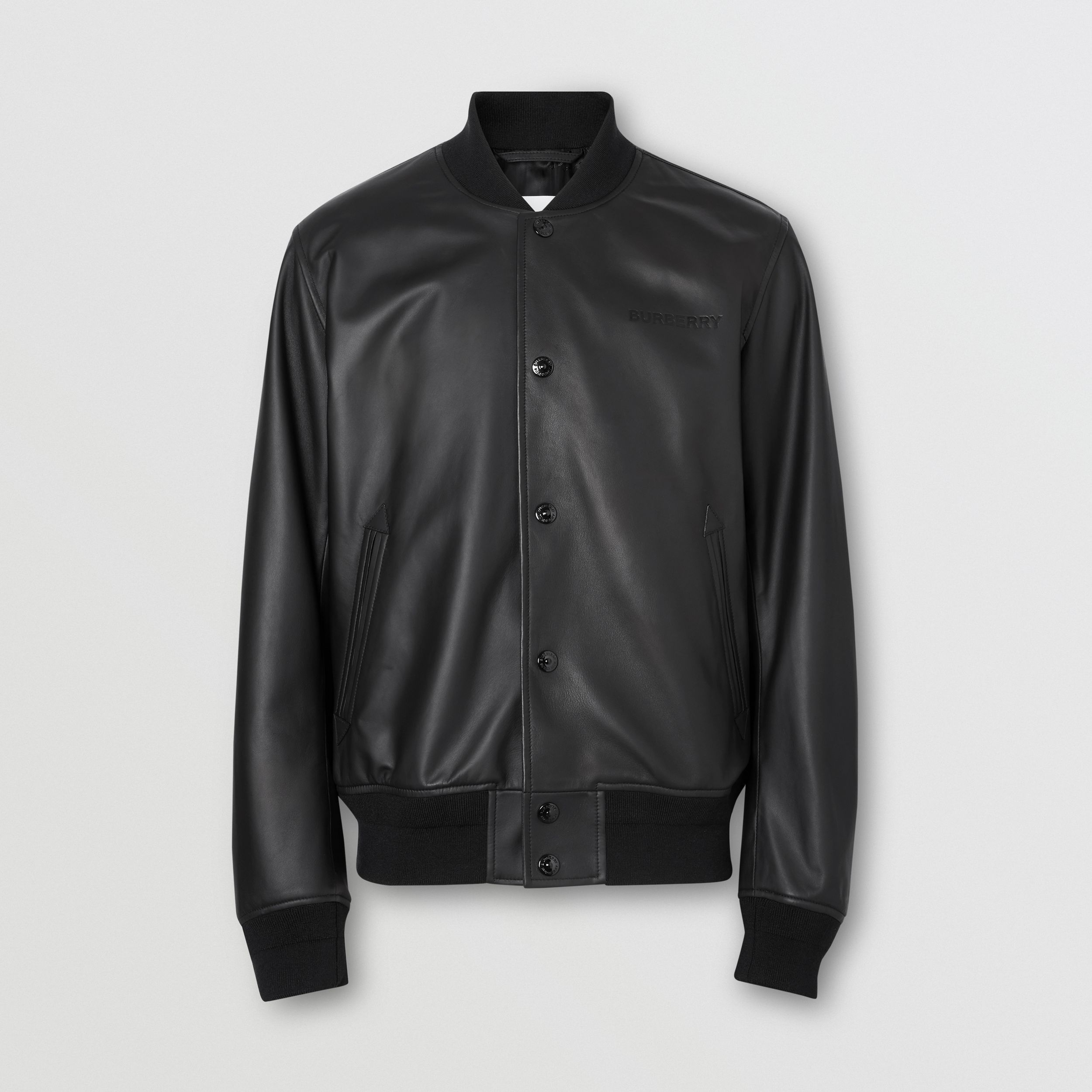 Logo Embossed Lambskin Bomber Jacket in Black - Men | Burberry - 4