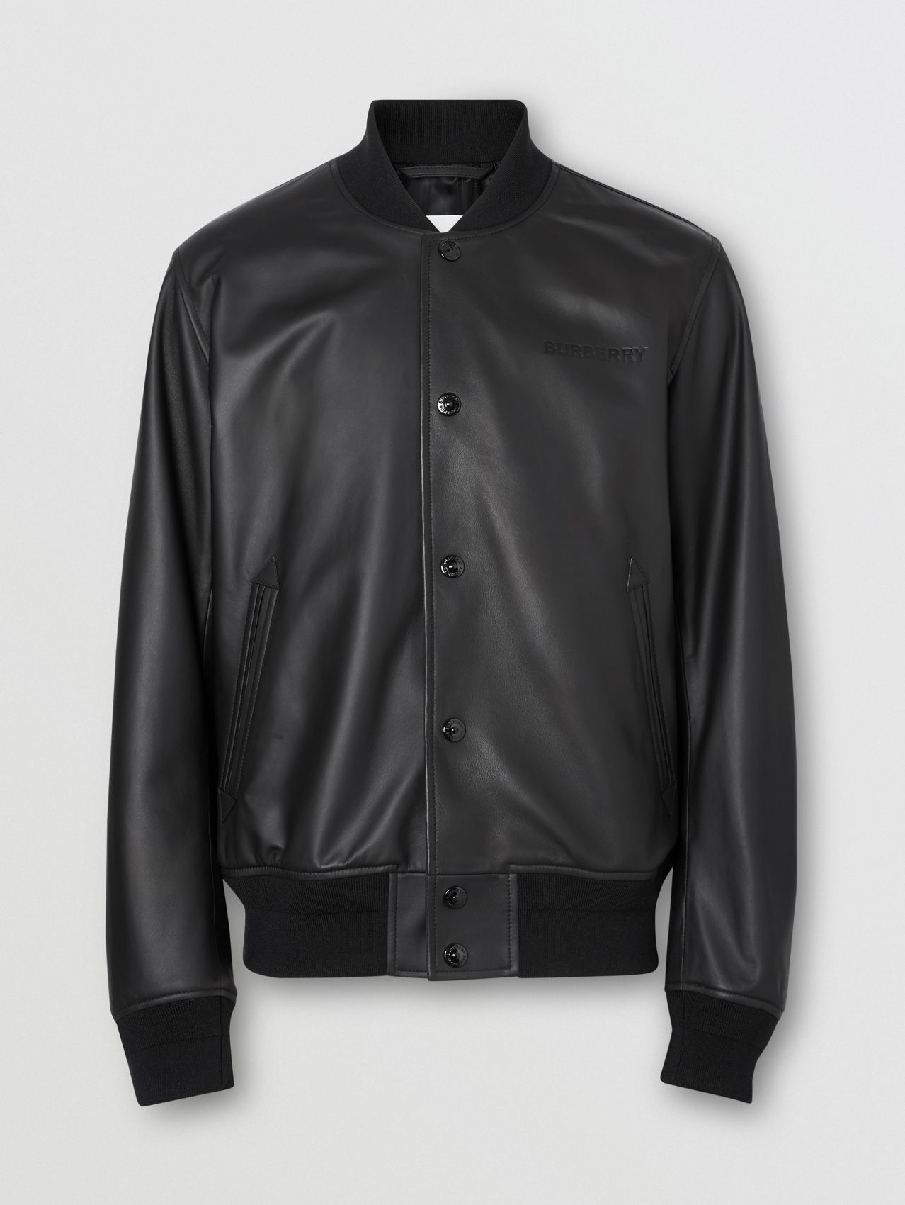 Logo Embossed Lambskin Bomber Jacket in Black