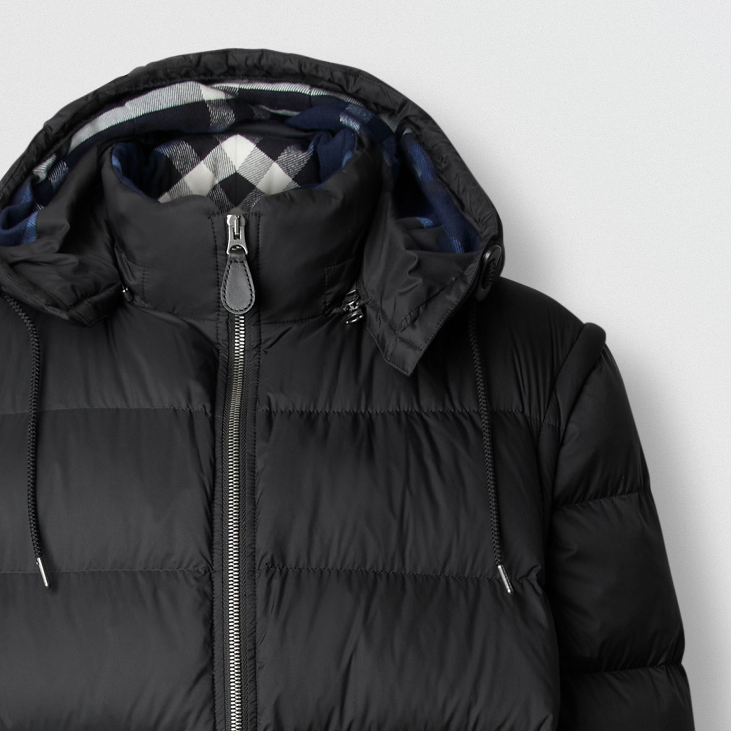 Detachable Sleeve Taffeta Puffer Jacket in Black - Men | Burberry - 2