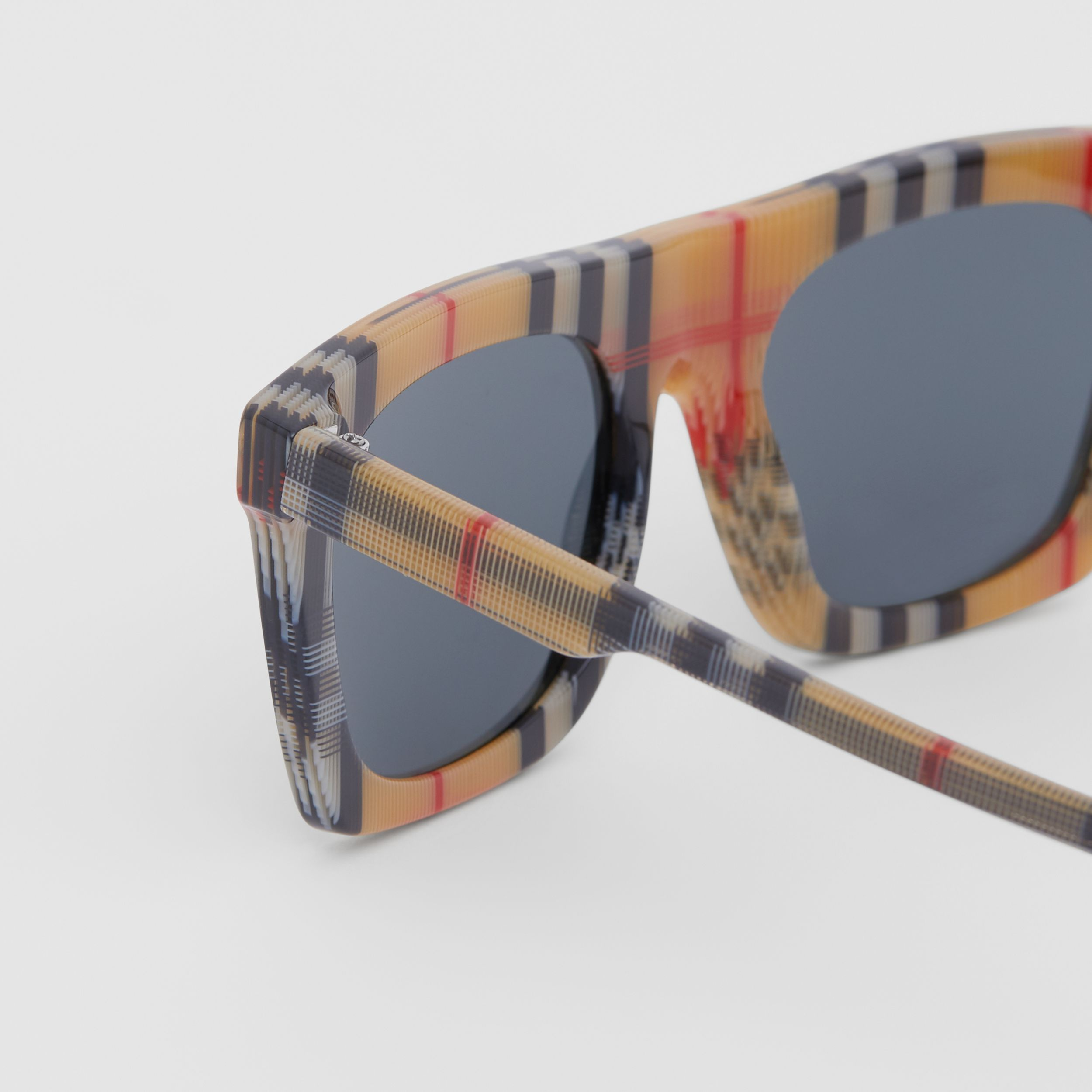 Vintage Check Rectangular Frame Sunglasses in Antique Yellow - Men | Burberry Singapore - 2