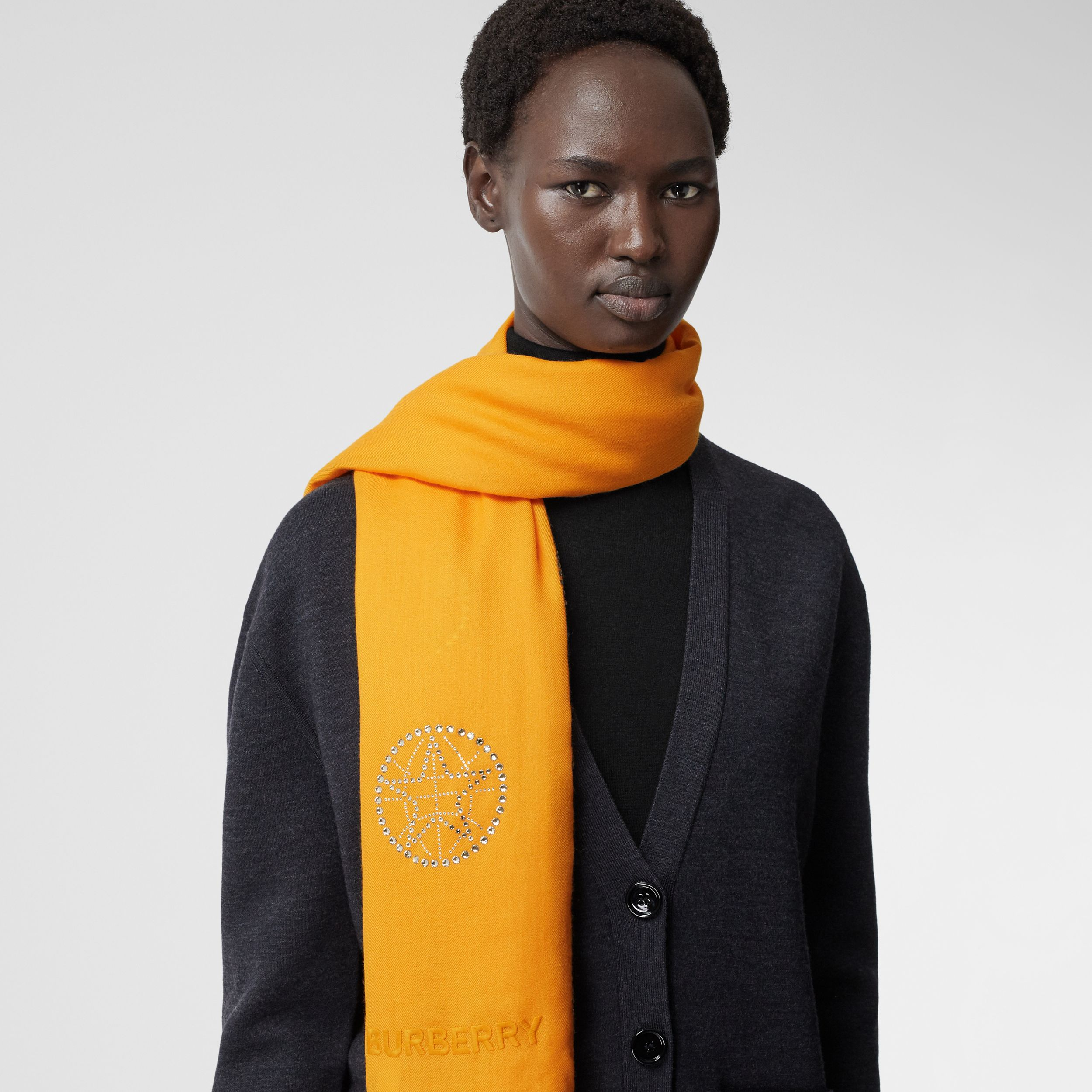 Crystal Globe Graphic Lightweight Cashmere Scarf in Citrus Orange | Burberry - 3