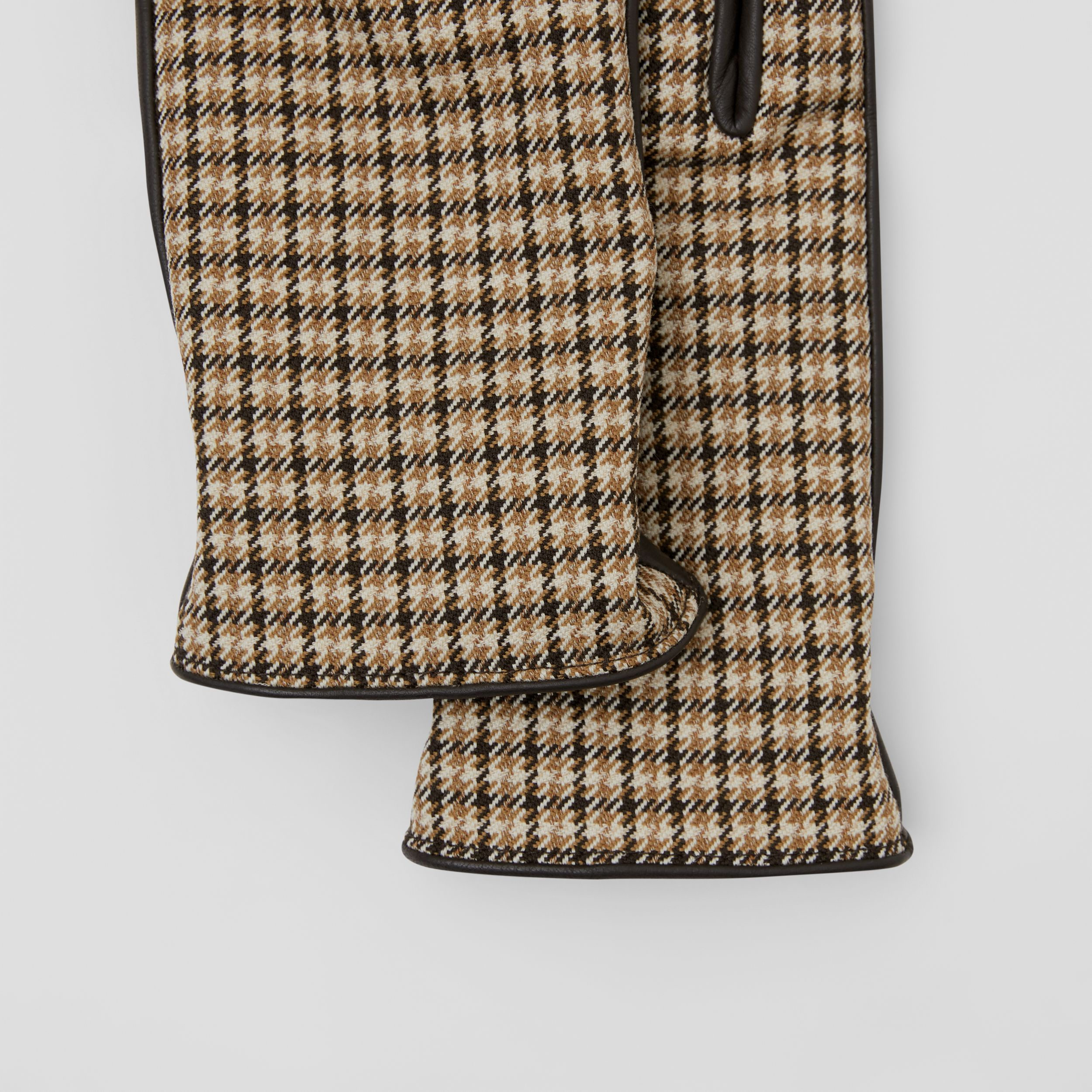 Cashmere-lined Lambskin and Check Wool Gloves in Brown | Burberry - 2