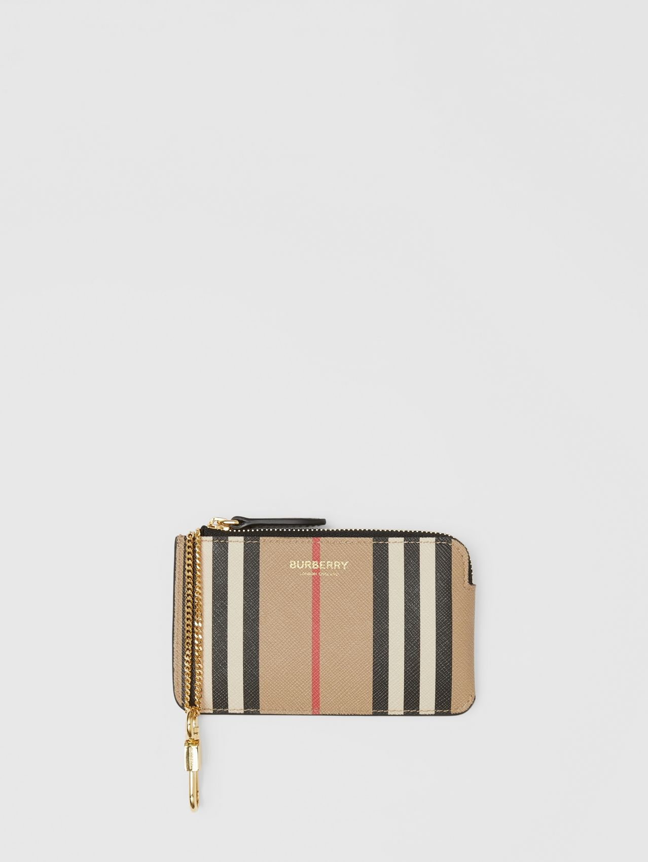 Icon Stripe E-canvas Zip Coin Case in Archive Beige