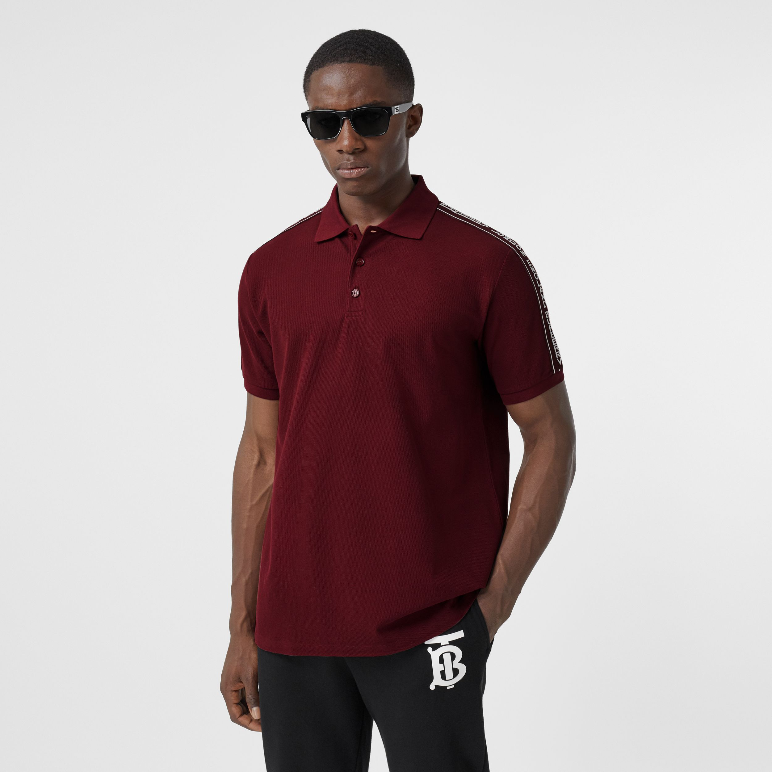 Logo Tape Cotton Piqué Polo Shirt in Deep Merlot - Men | Burberry - 1