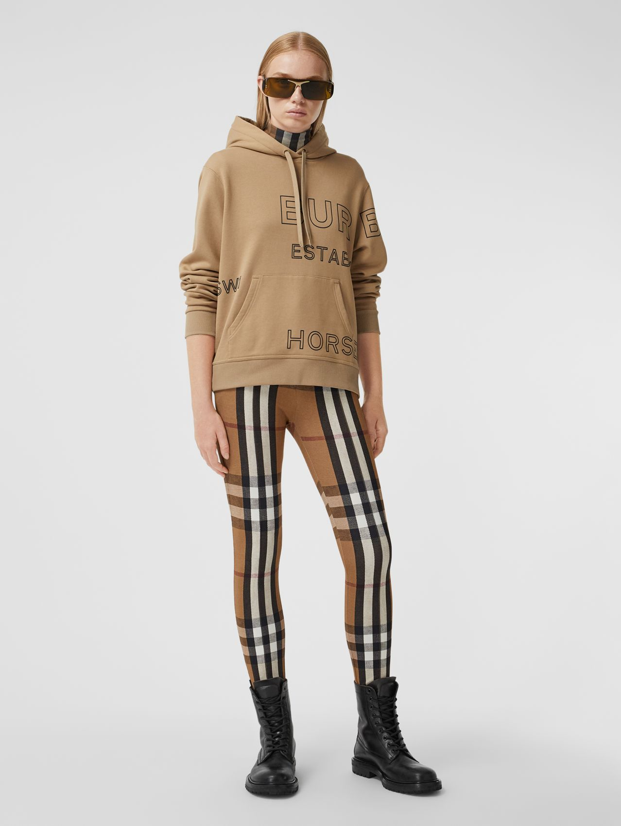 Horseferry Print Cotton Oversized Hoodie in Archive Beige