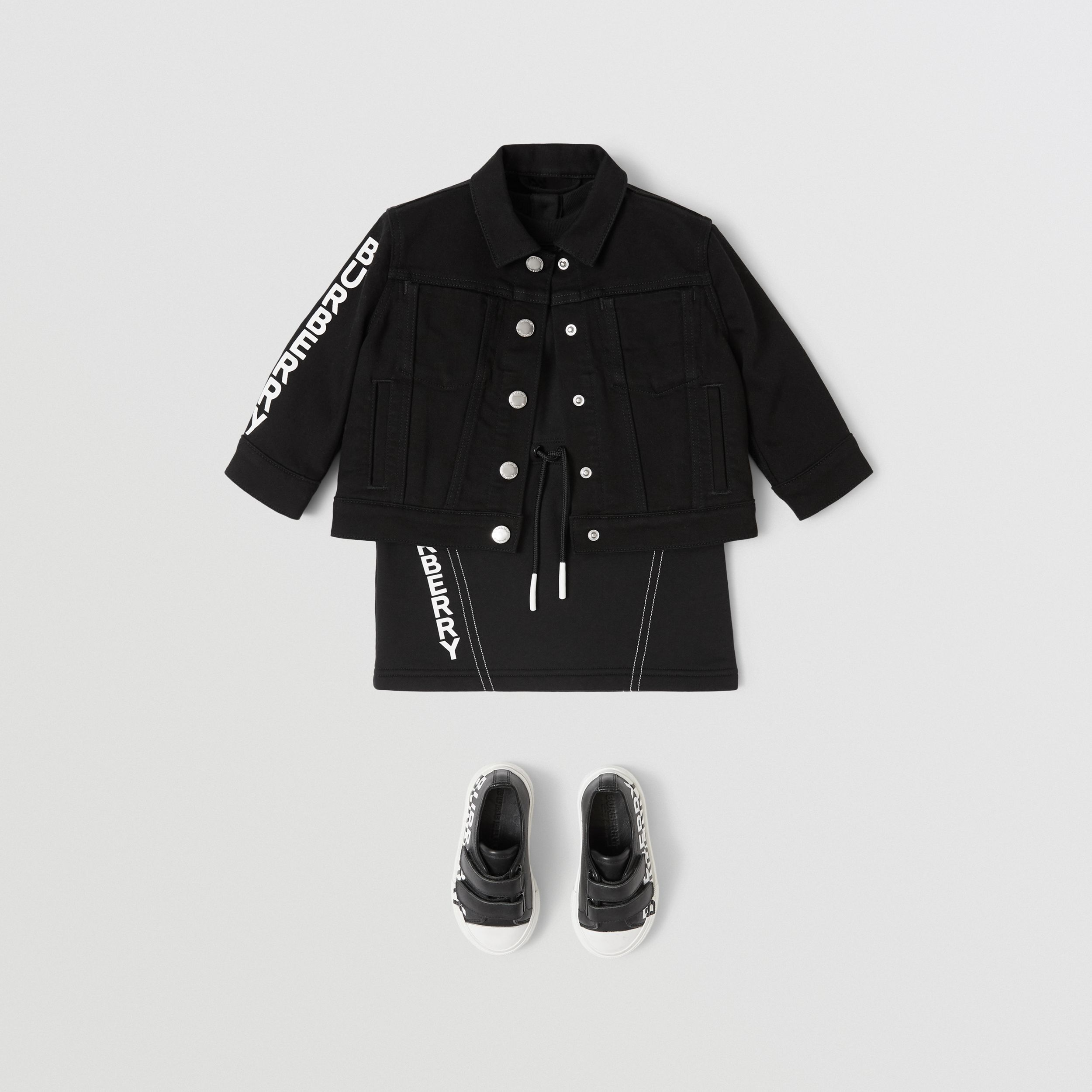 Logo Print Japanese Denim Jacket in Black - Children | Burberry - 3