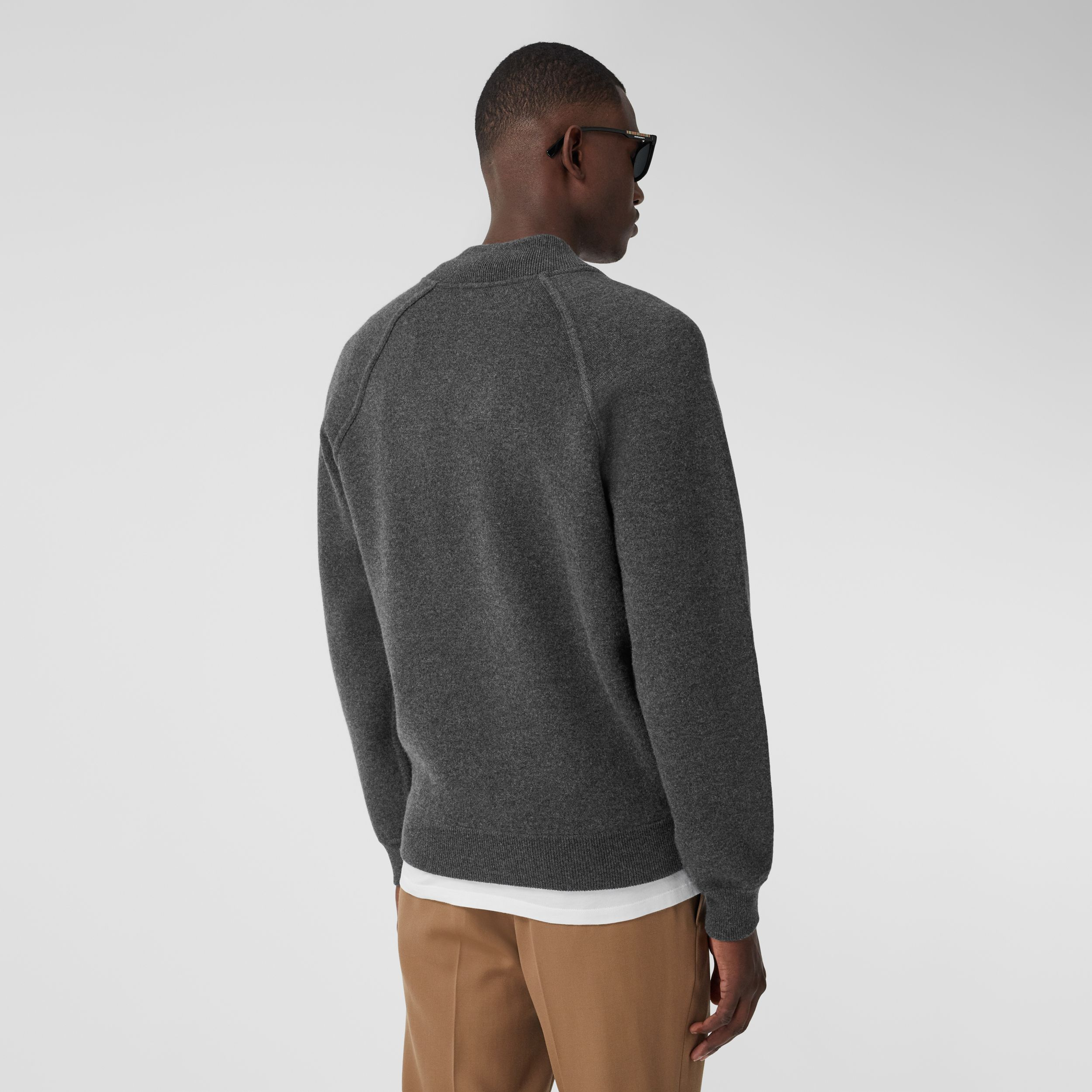 Double-faced Wool Cashmere Blend Bomber Jacket in Mid Grey Melange - Men | Burberry - 3