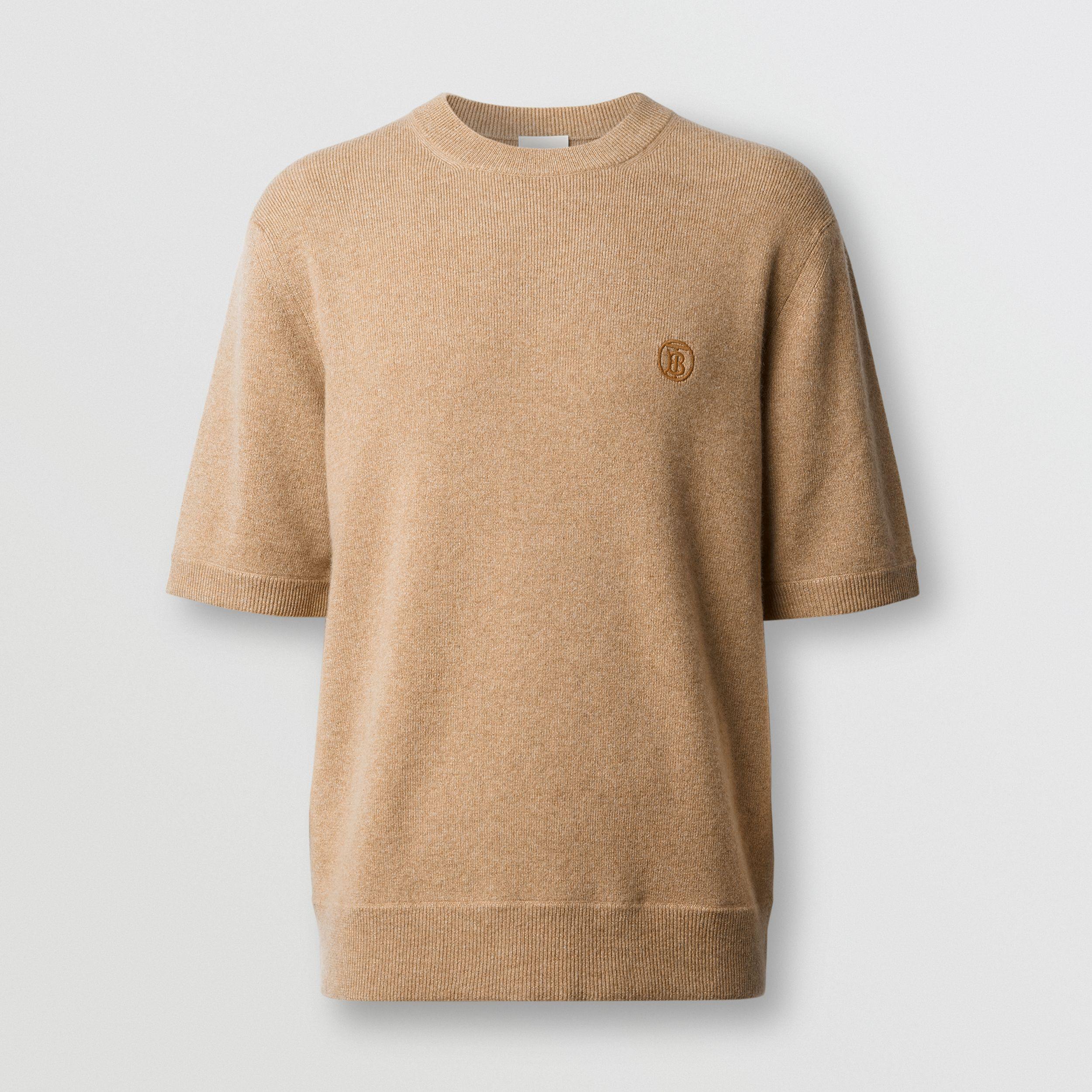 Short-sleeve Monogram Motif Cashmere Top in Pale Coffee - Men | Burberry - 4