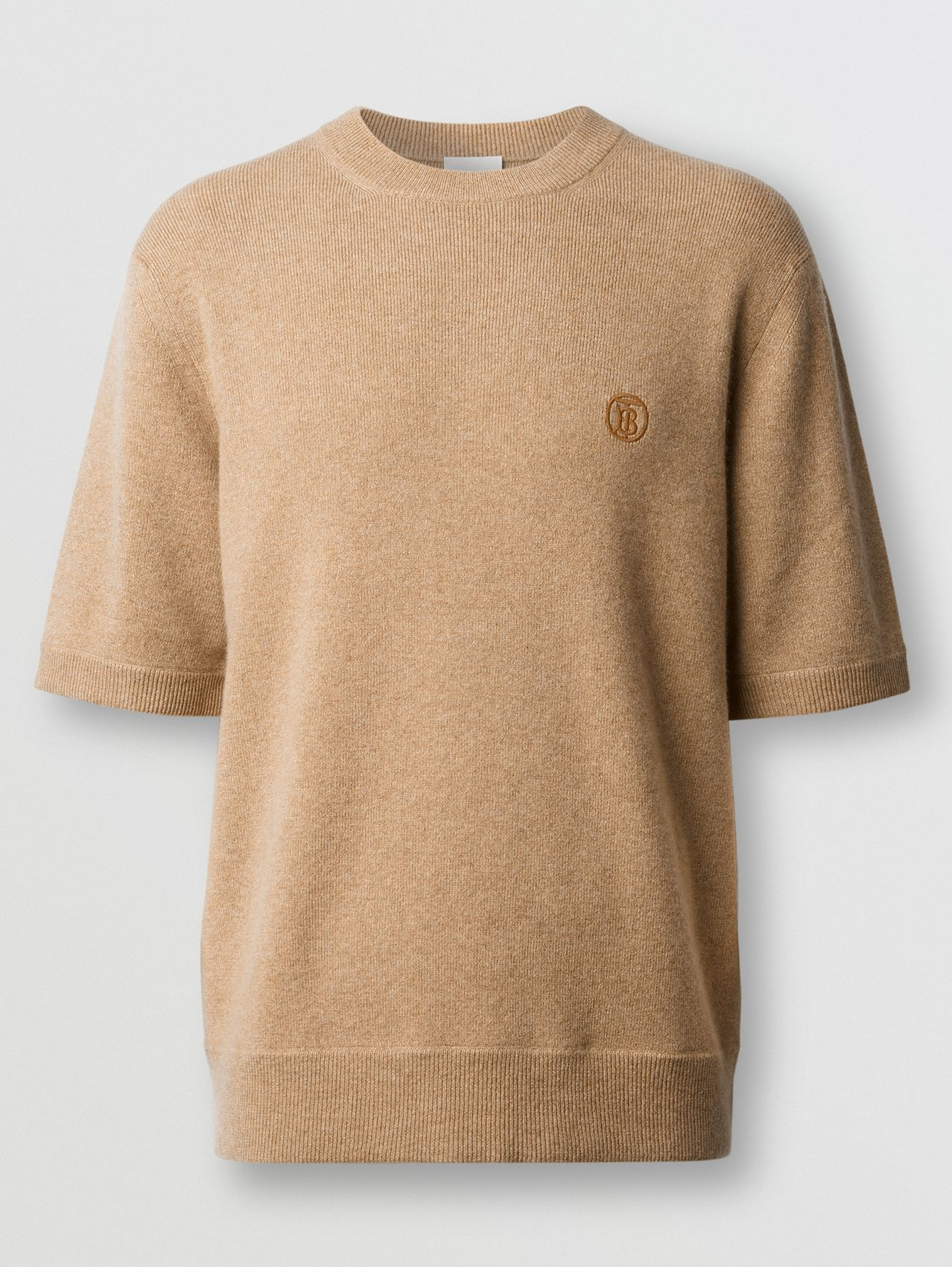 Short-sleeve Monogram Motif Cashmere Top in Pale Coffee