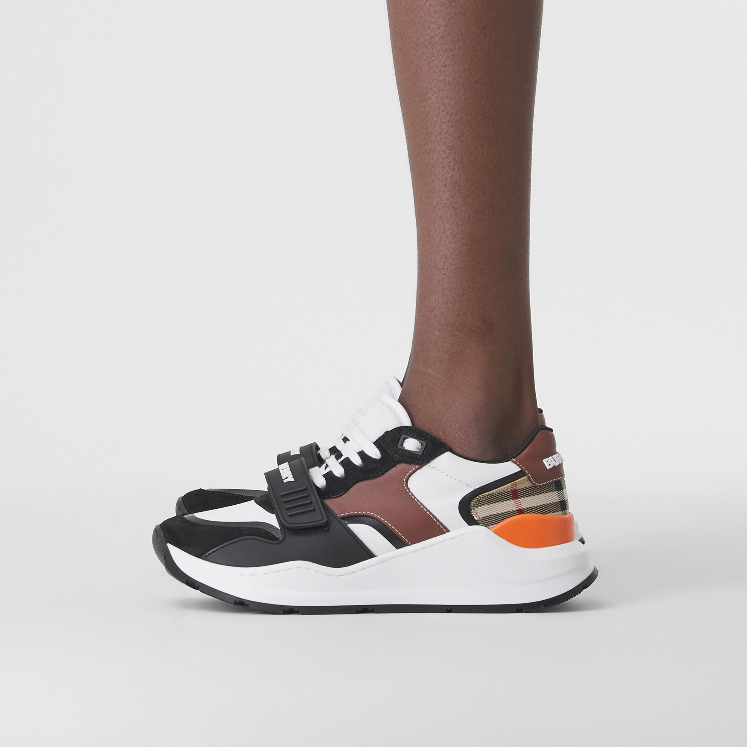 Leather, Suede and Vintage Check Sneakers in Black/archive Beige - Women | Burberry - 3