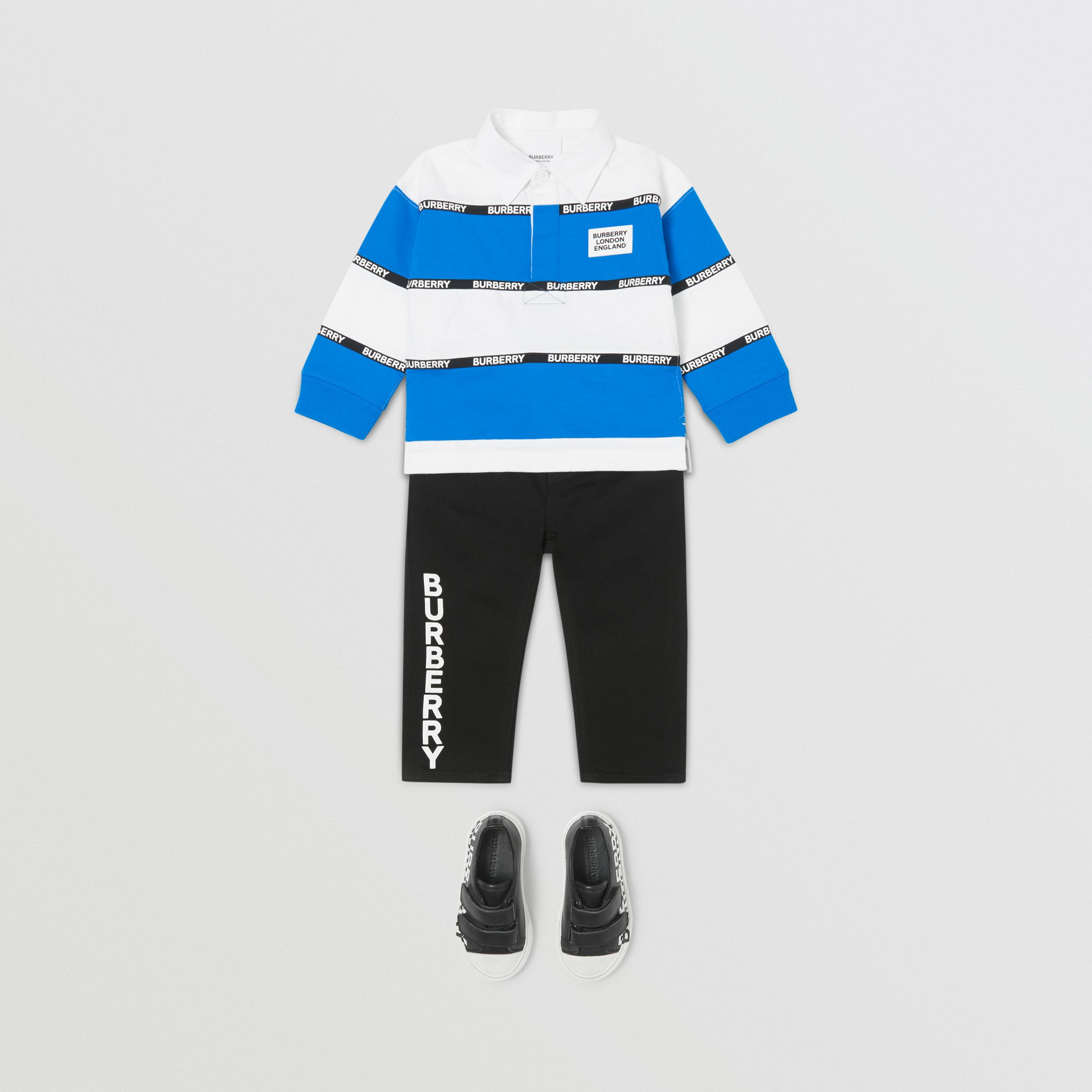 Long-sleeve Logo Tape Striped Cotton Polo Shirt - Children | Burberry - 3