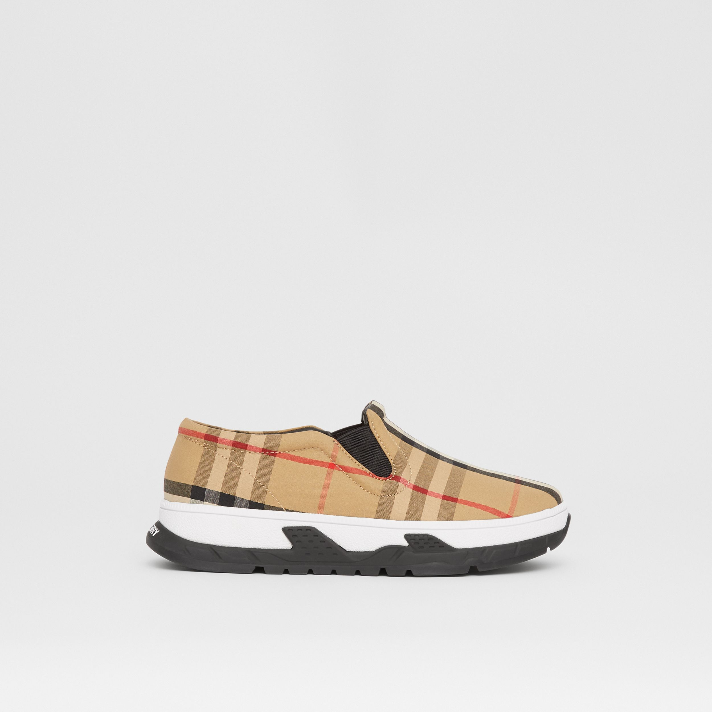 Vintage Check Cotton Slip-on Sneakers in Archive Beige - Children | Burberry Canada - 4