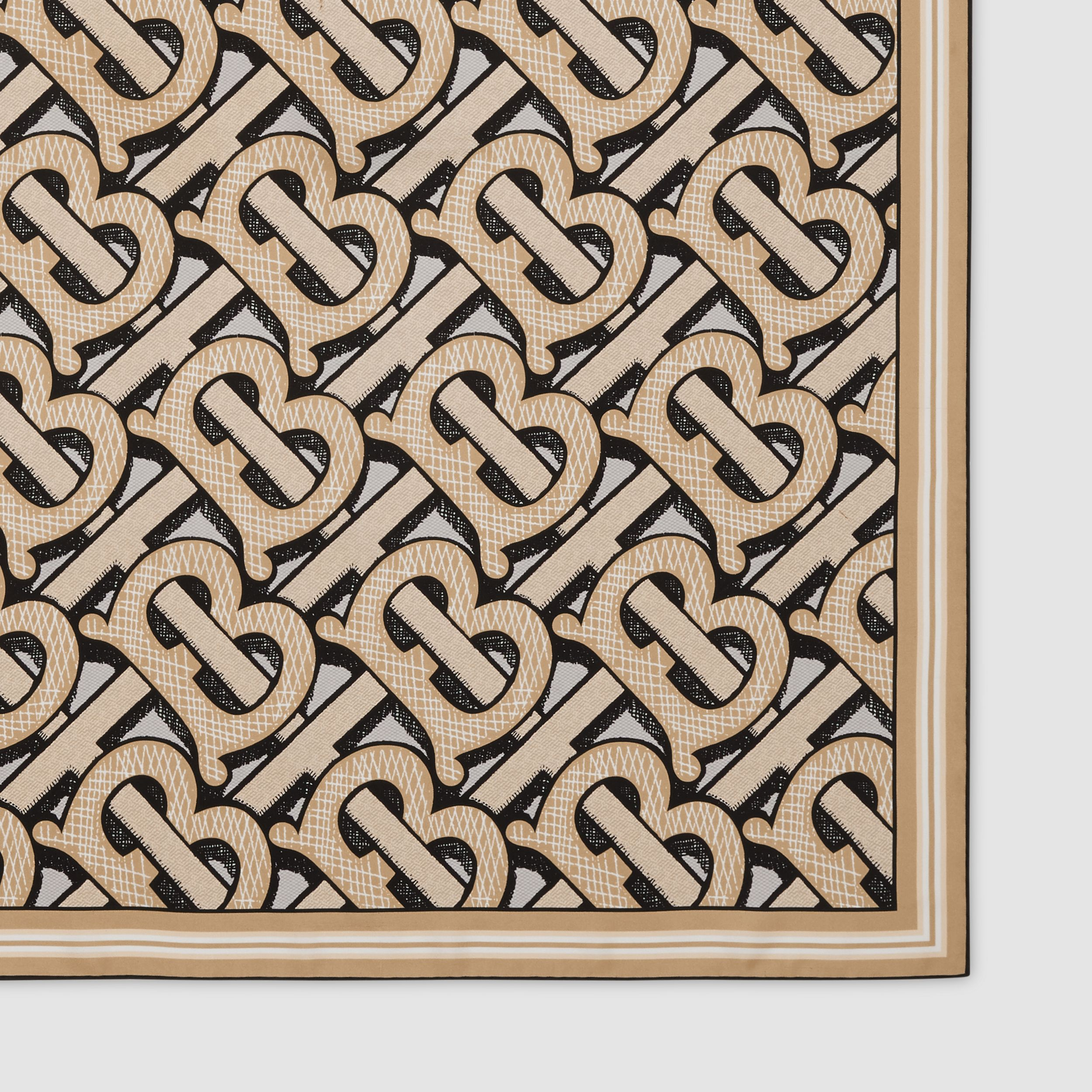 Monogram Print Silk Square Scarf in Dark Beige | Burberry Hong Kong S.A.R. - 2