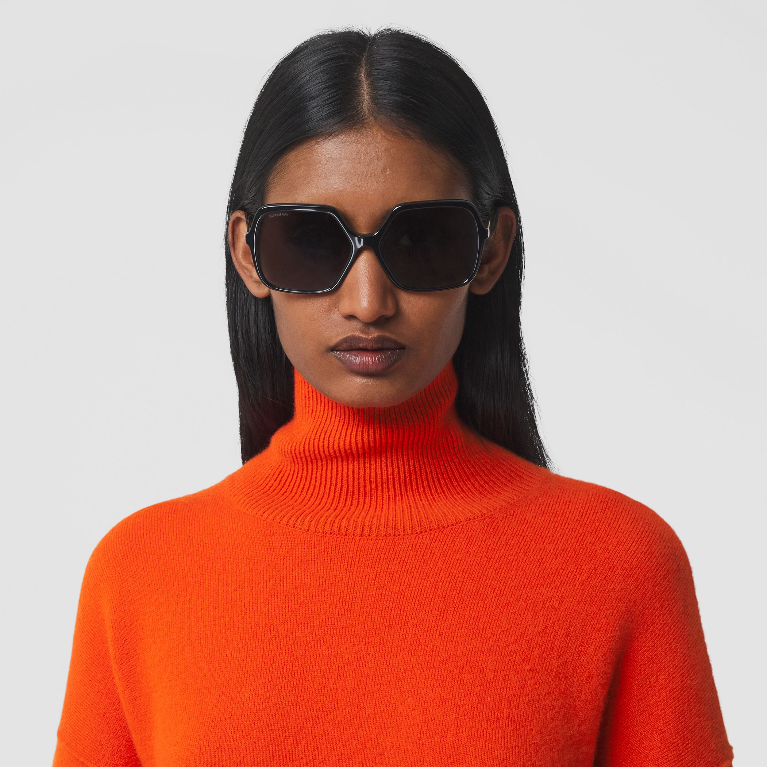Monogram Motif Cashmere Blend Funnel Neck Sweater in Bright Orange - Women | Burberry - 2