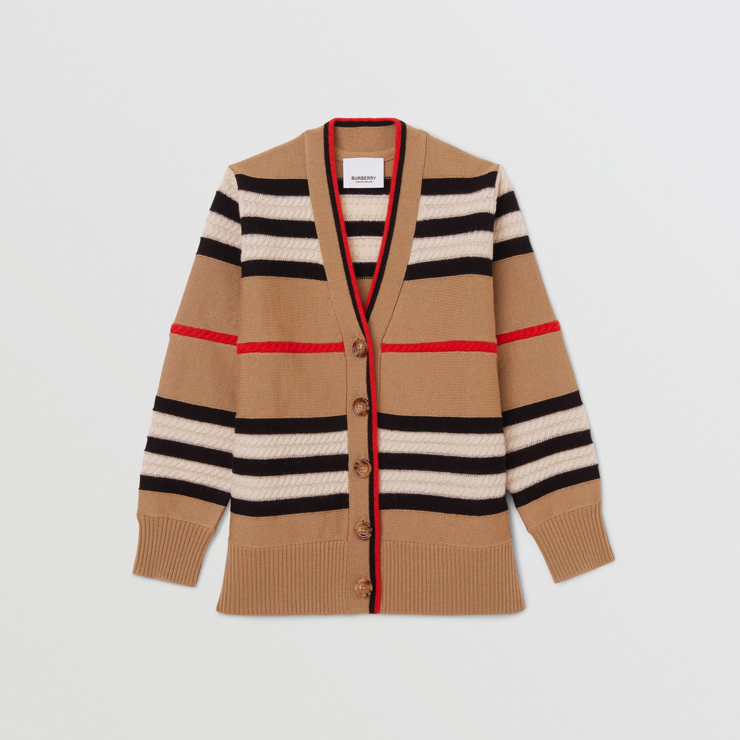 Icon Stripe Wool Cashmere Cardigan | Burberry - 1
