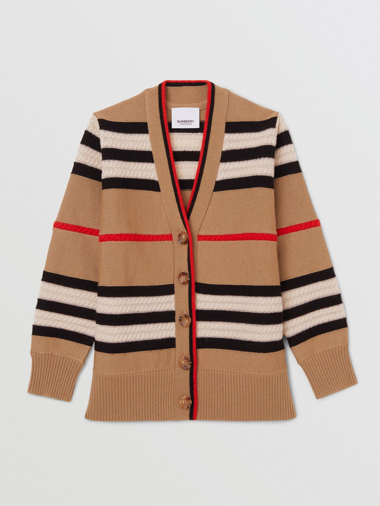 Cardigan in lana e cashmere con iconico motivo a righe