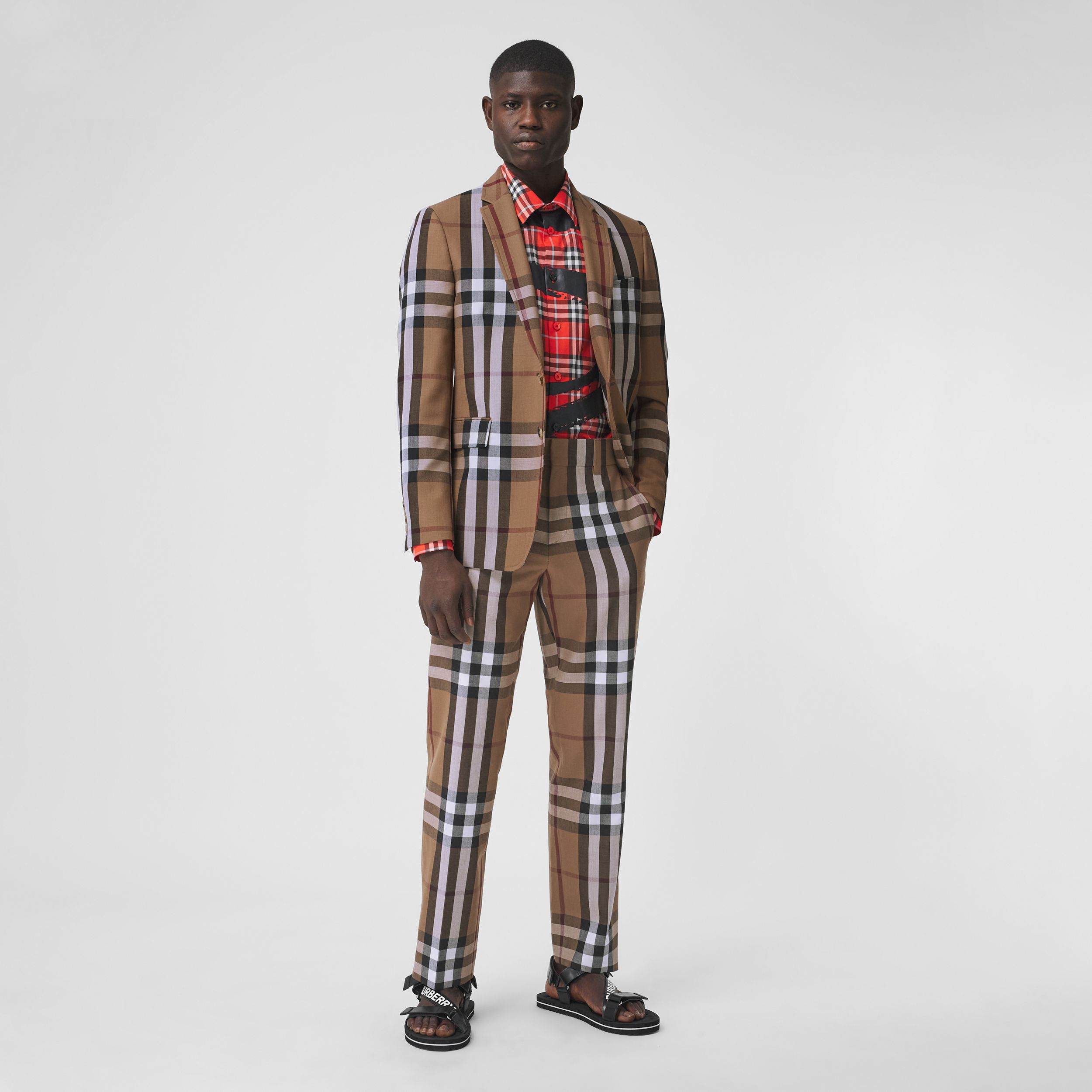 Check Wool Cropped Tailored Trousers in Birch Brown - Men | Burberry United Kingdom - 1