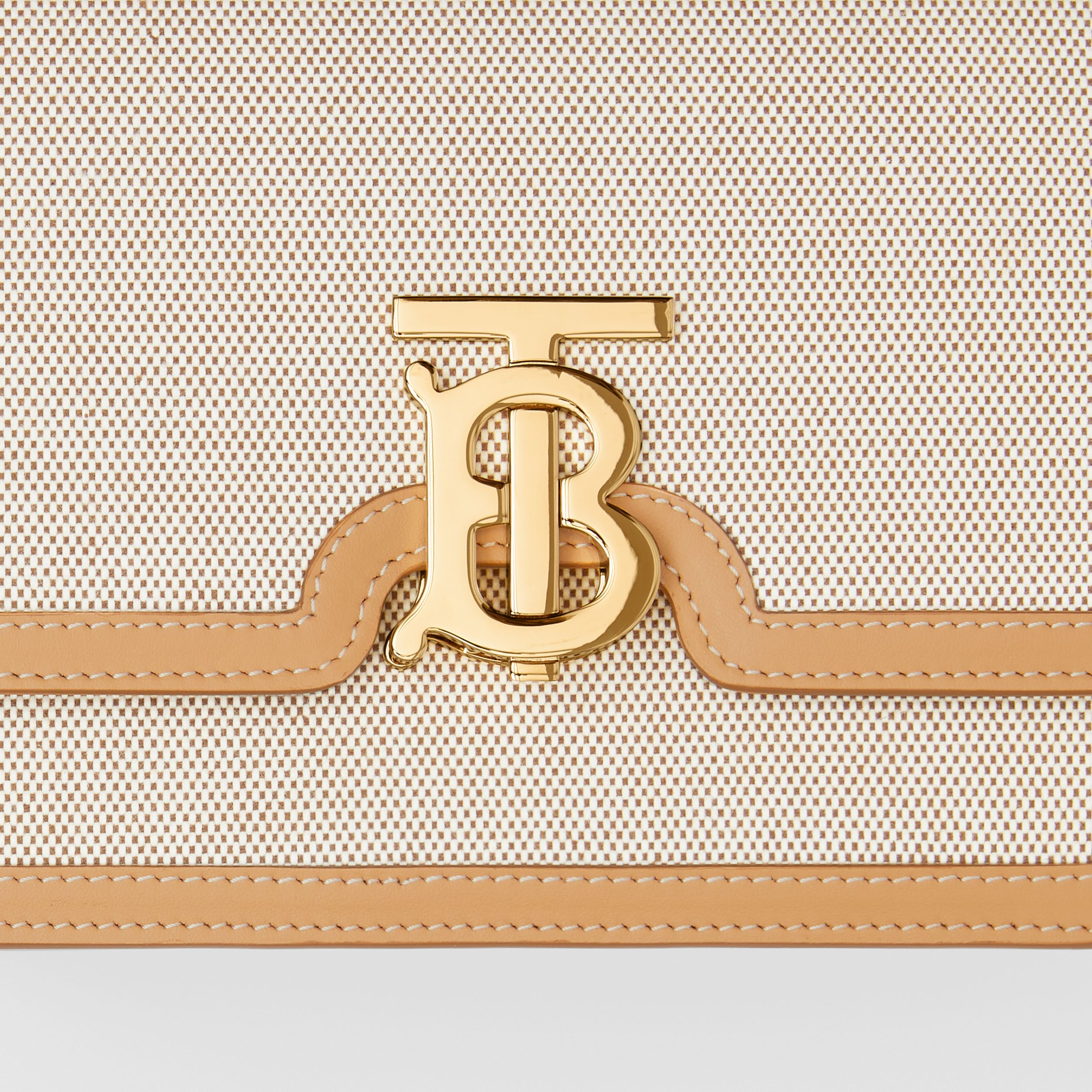 Small Two-tone Canvas and Leather TB Bag in Soft Fawn/warm Sand - Women | Burberry Singapore - 2